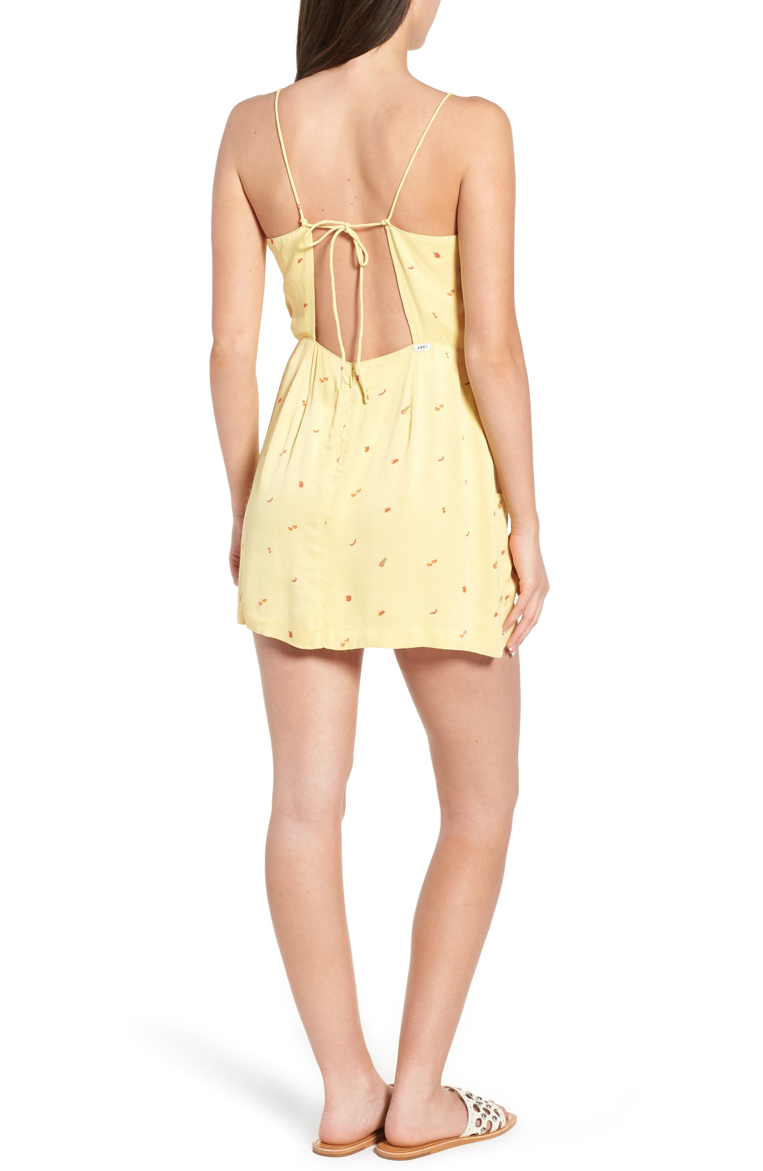 Shilo Fruit Print Minidress,                             Alternate thumbnail 2, color,                             Yellow Multi