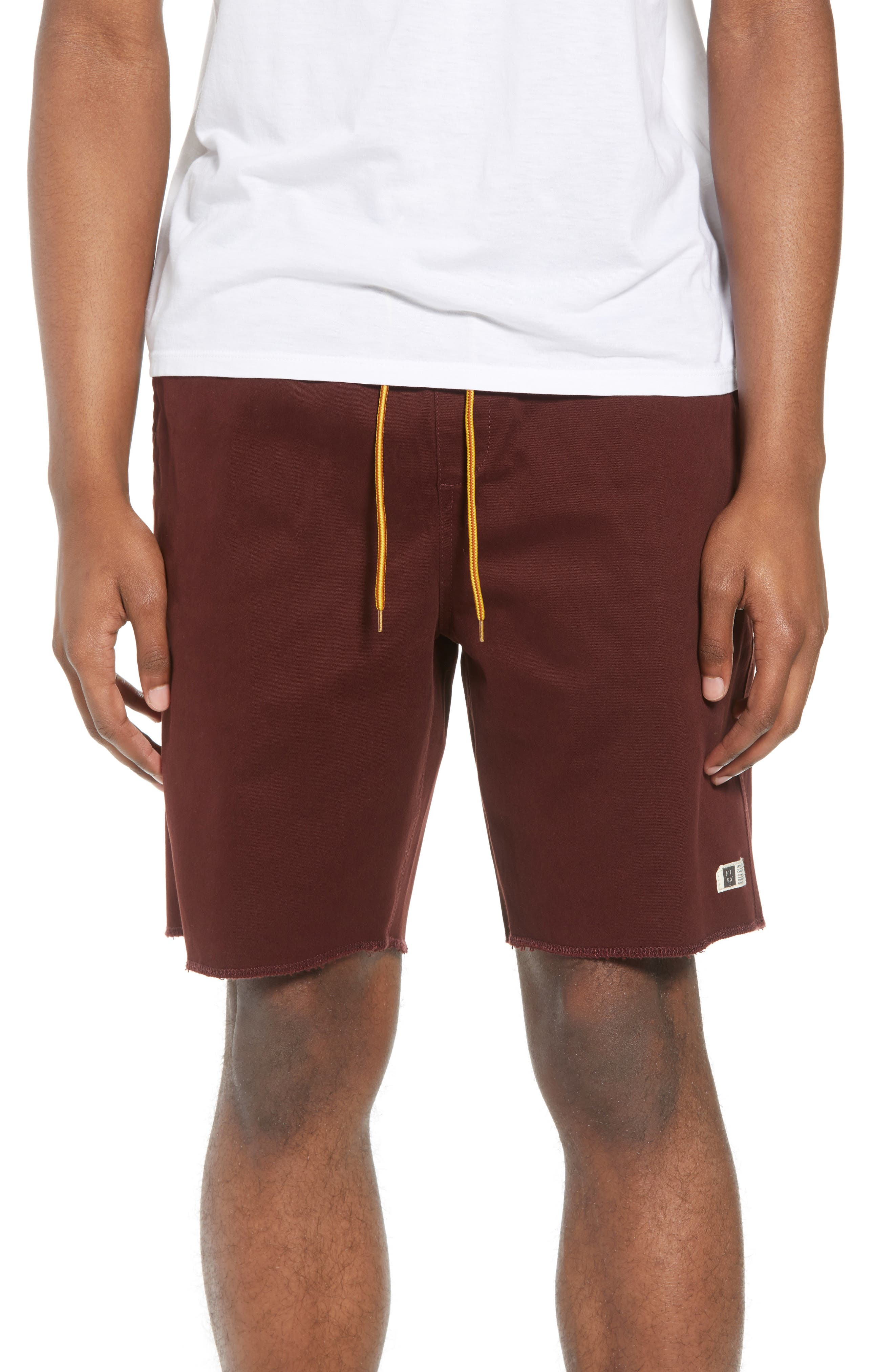 Weekday Shorts,                             Main thumbnail 1, color,                             Burgundy
