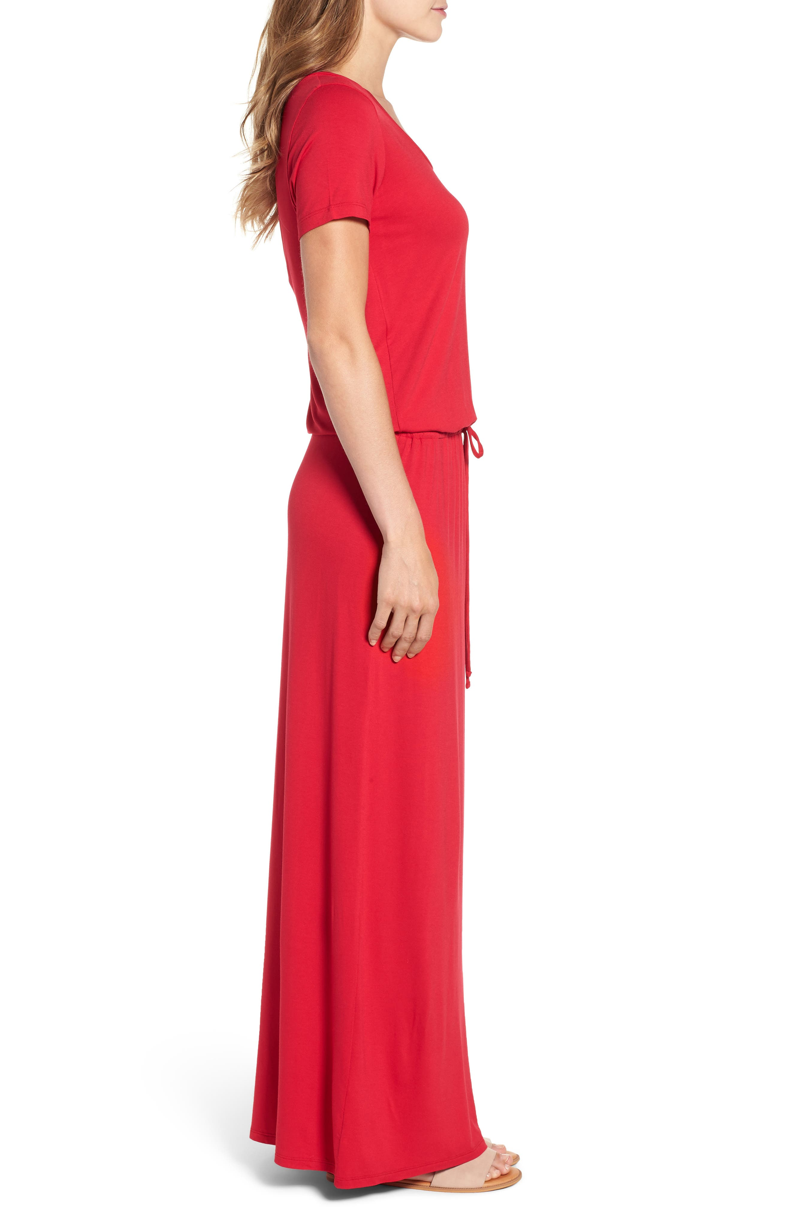 Drawstring V-Neck Jersey Maxi Dress,                             Alternate thumbnail 3, color,                             Red Jalapeno
