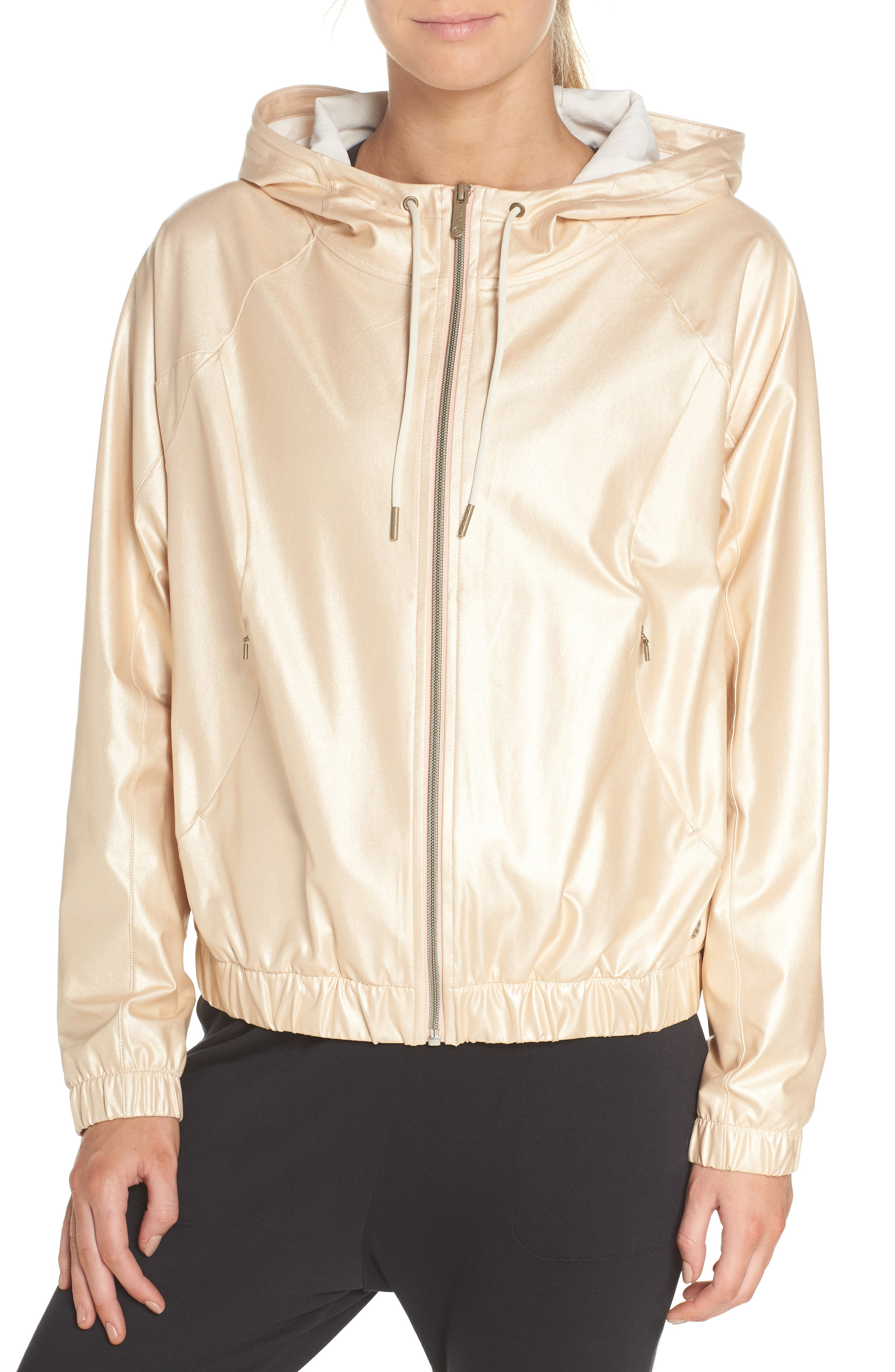 Style Game Shine Hooded Jacket,                             Alternate thumbnail 2, color,                             Metallic Oro