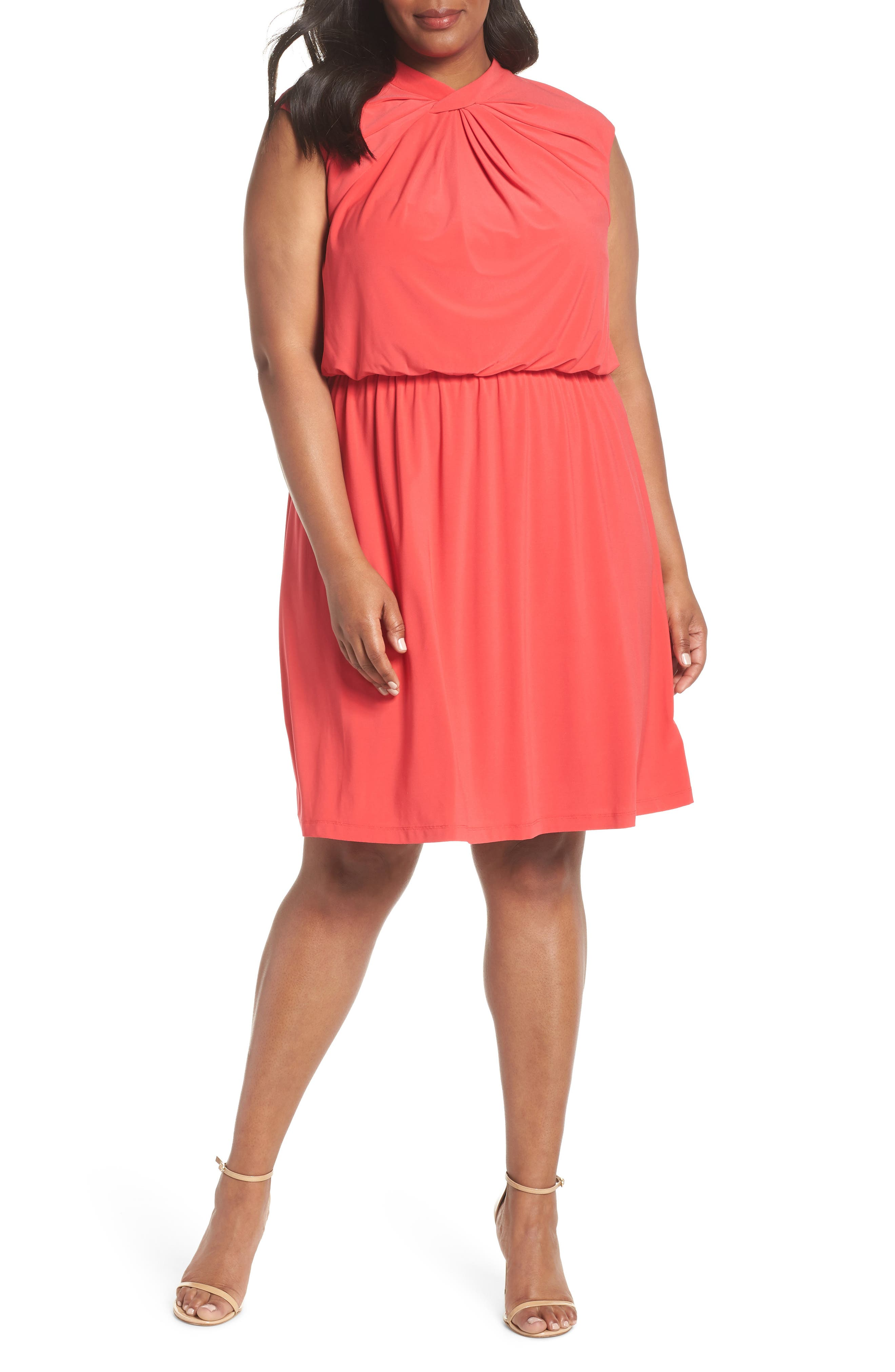 Twist Neck Jersey Blouson Dress,                         Main,                         color, Geranium