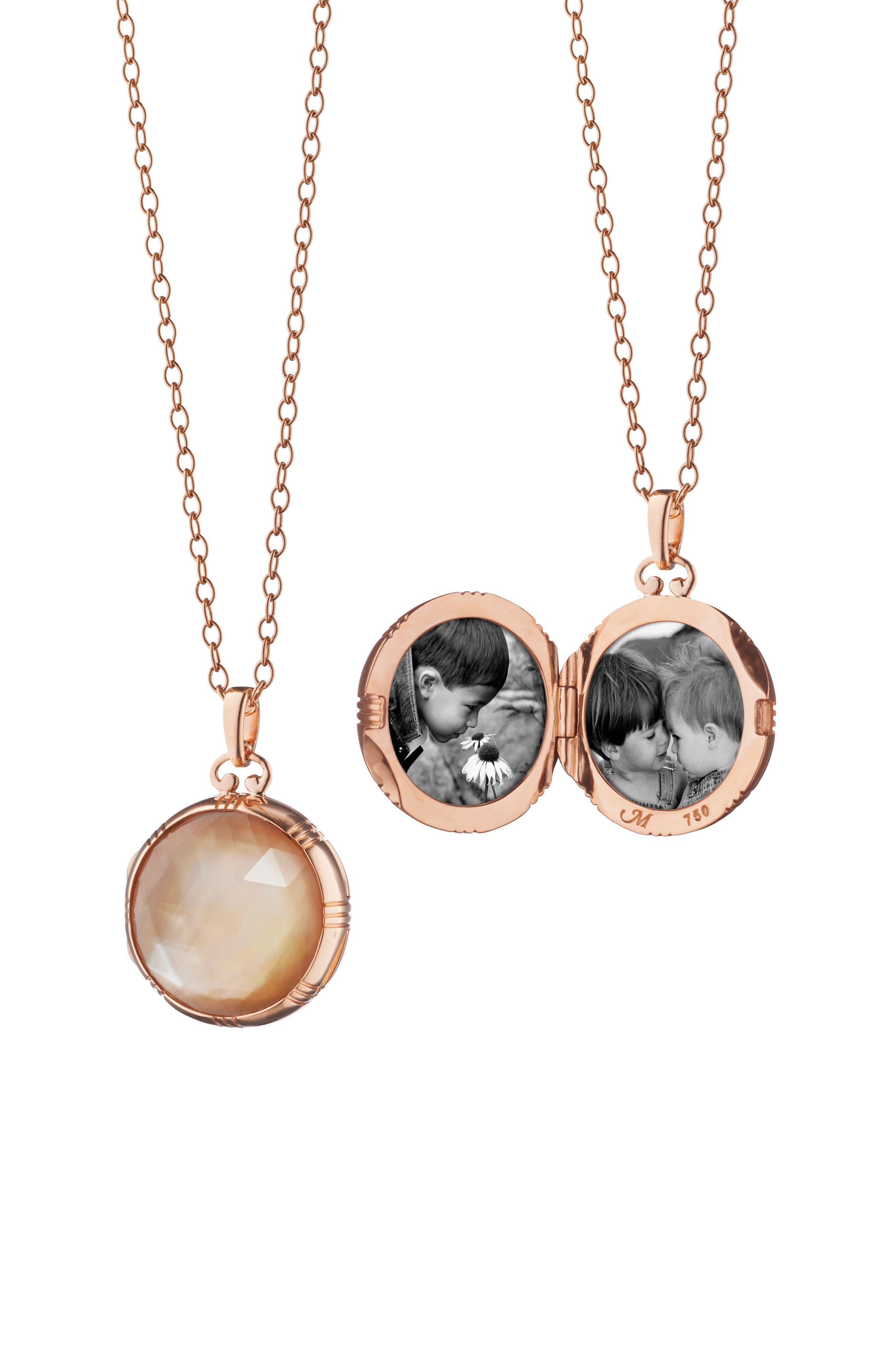 Stone Locket Necklace,                         Main,                         color, 18K Rose Gold