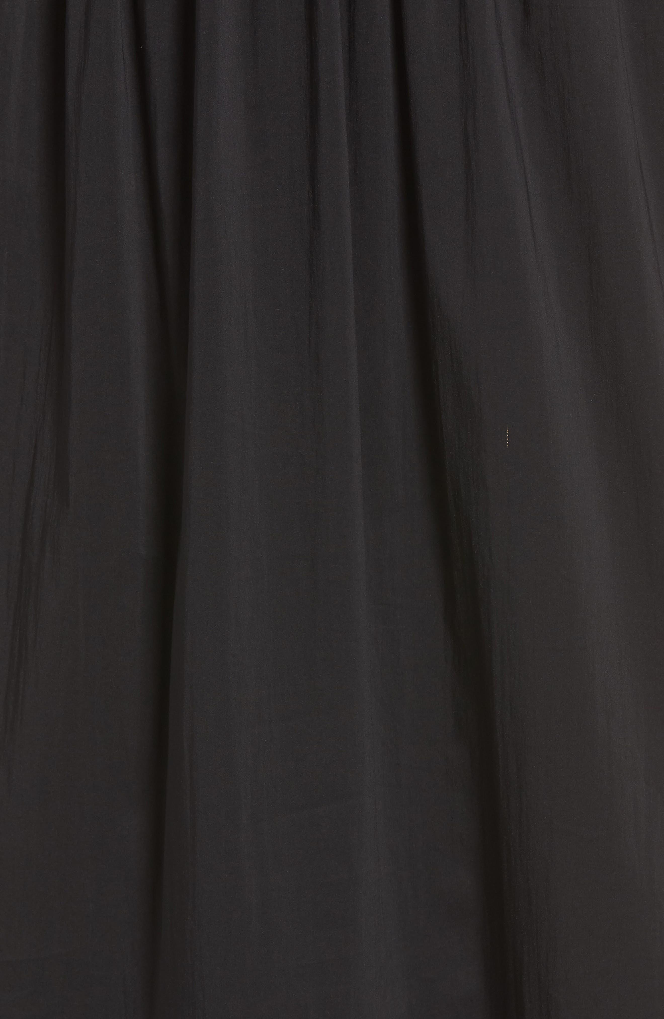 Tiered Maxi Dress,                             Alternate thumbnail 6, color,                             Black Solid Poplin
