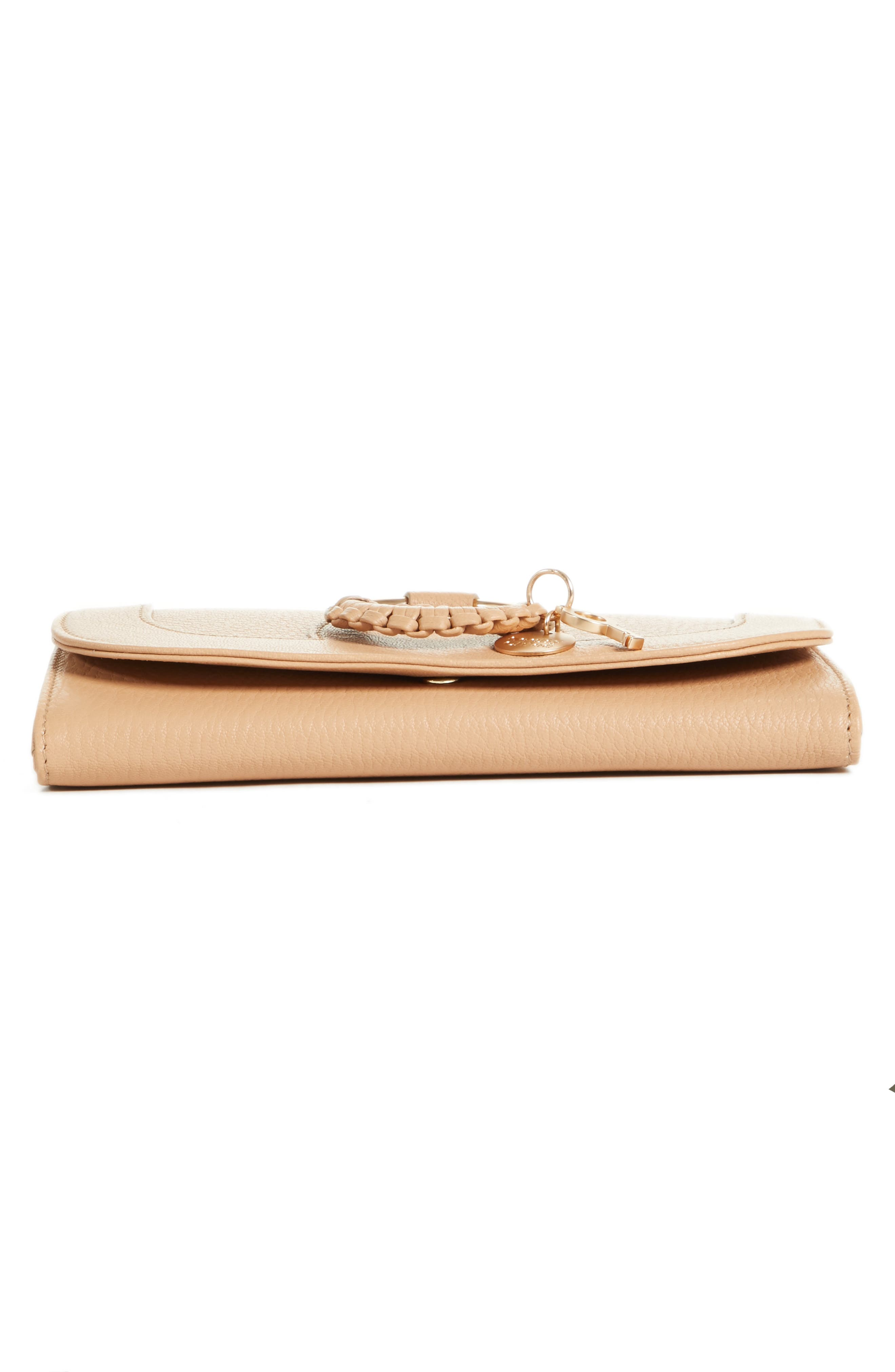 Hana Large Leather Wallet,                             Alternate thumbnail 6, color,                             Blush Nude