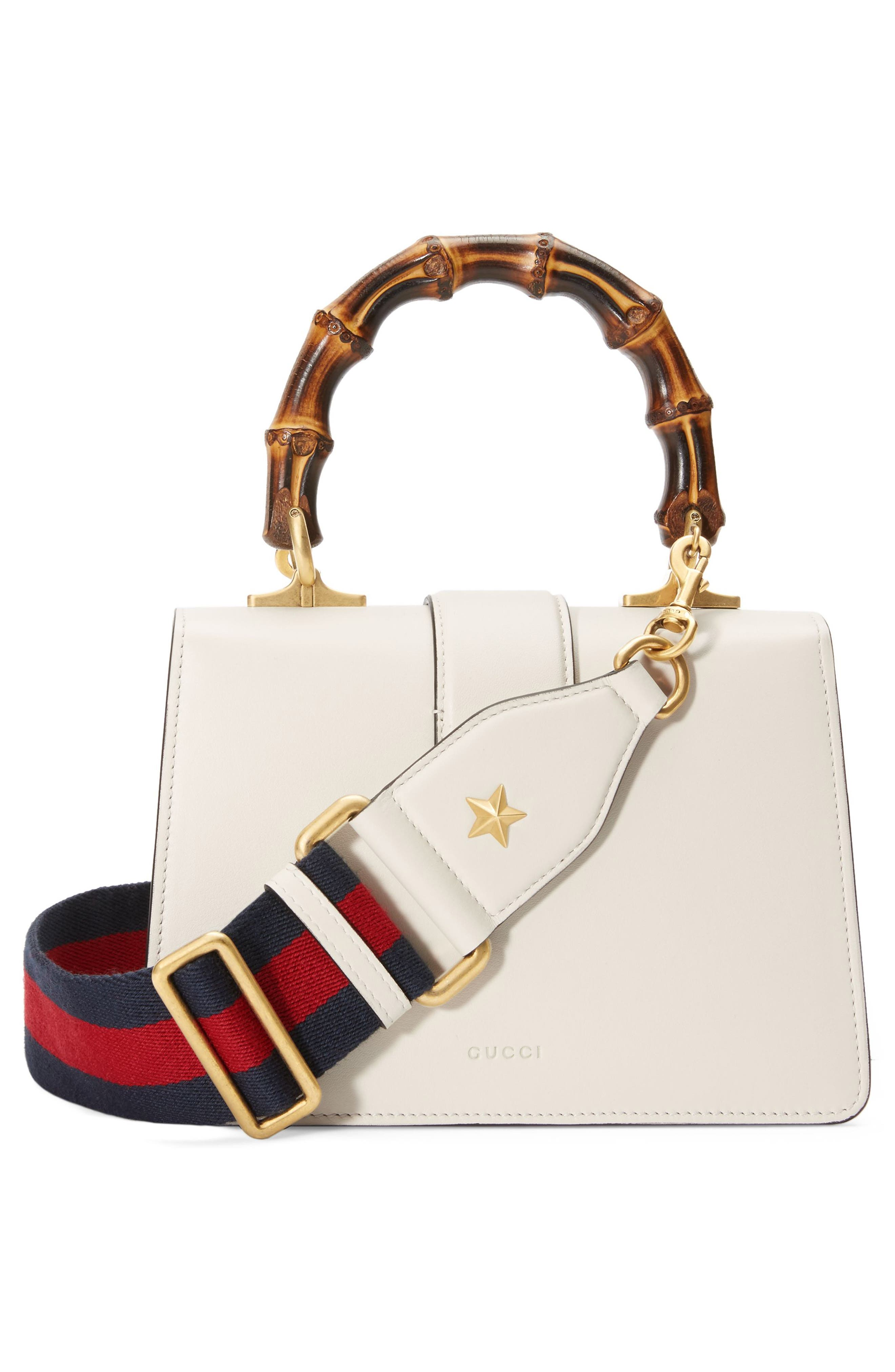 Mini Dionysus Leather Top Handle Satchel,                             Alternate thumbnail 2, color,                             White/ Blue/ Hibiscus Red