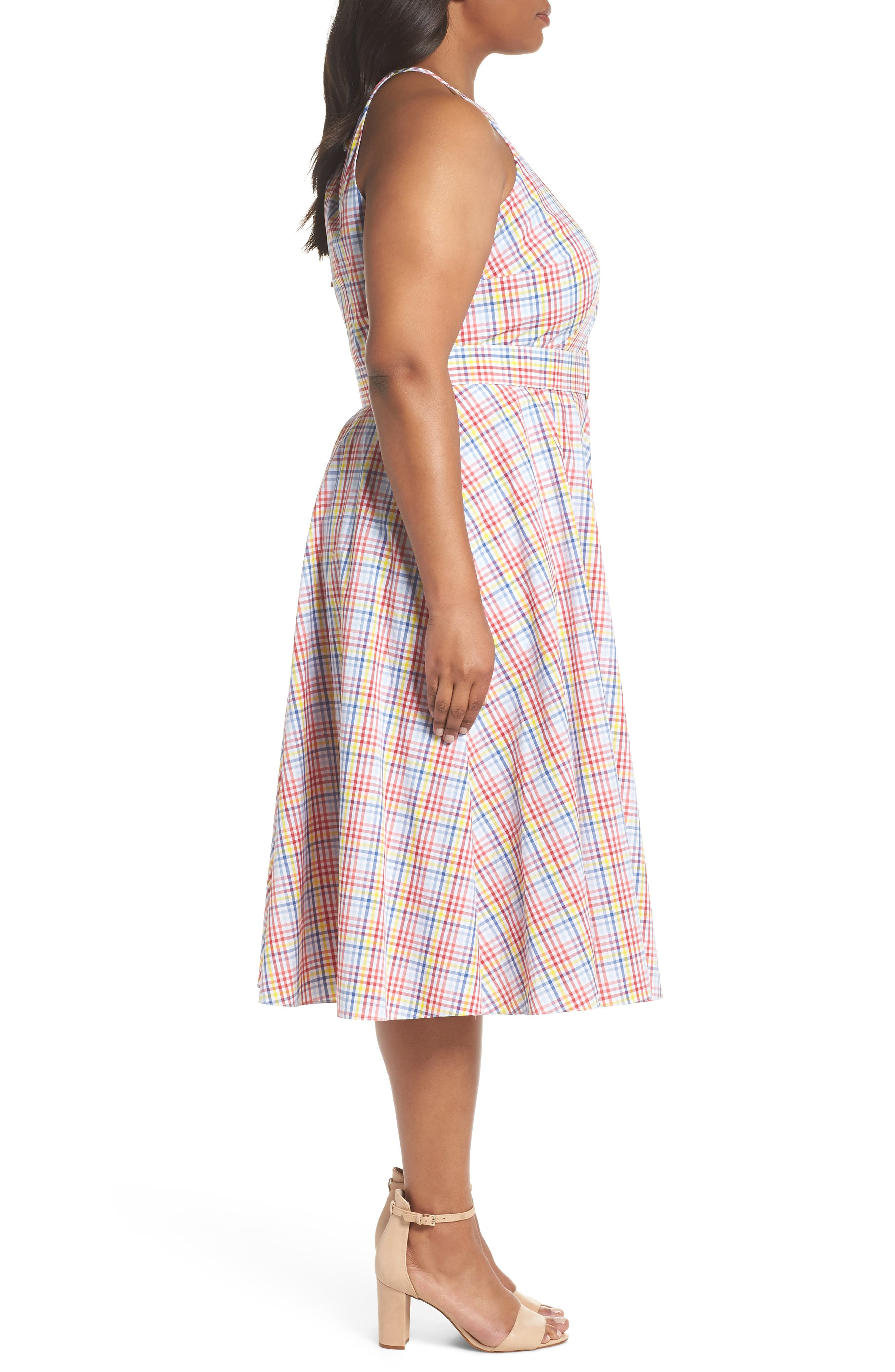 Check Halter Midi Fit & Flare Dress,                             Alternate thumbnail 4, color,                             Red