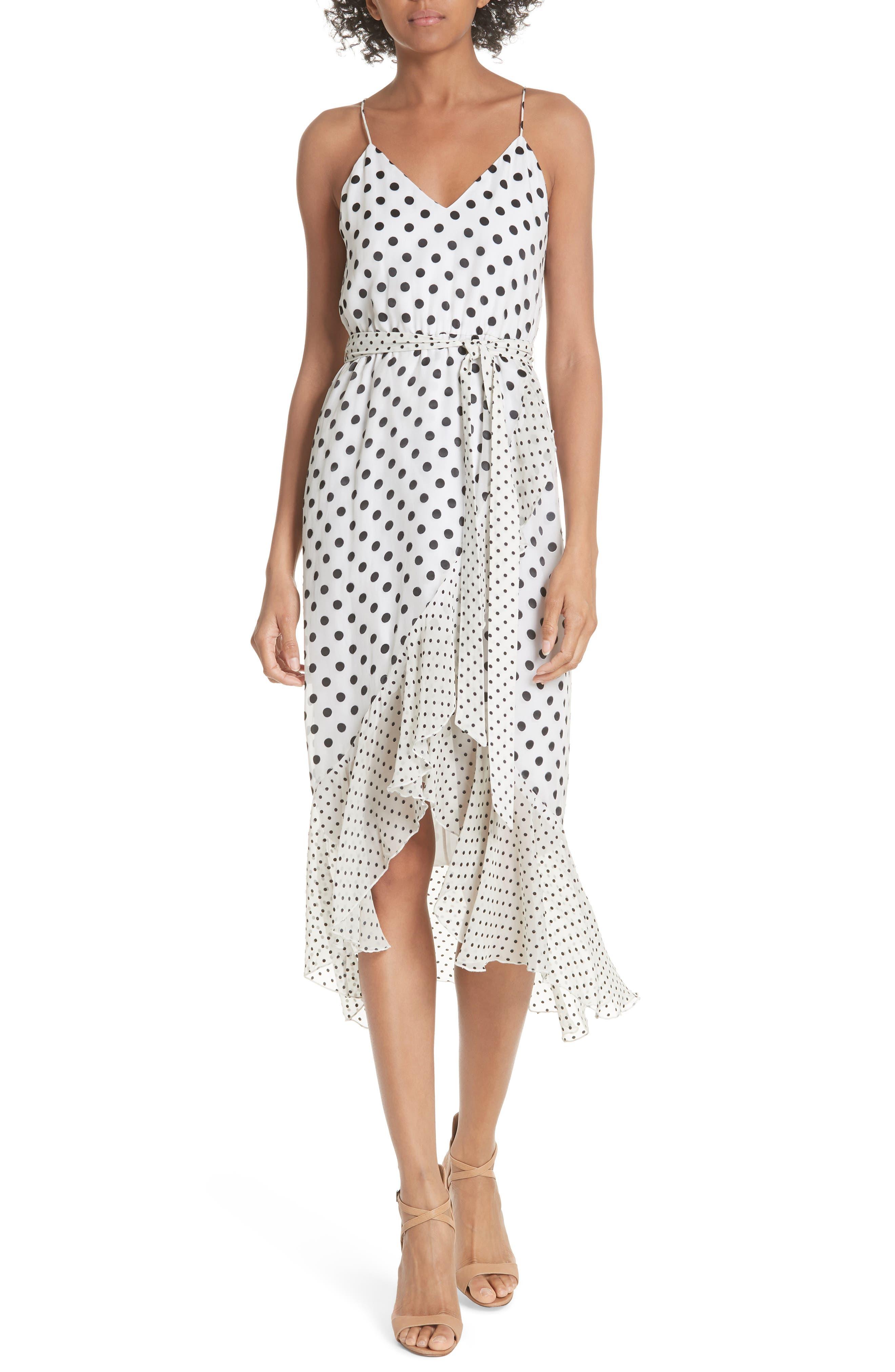 Ruffle Faux Wrap Dress,                             Main thumbnail 1, color,                             Soft White Mono Dot