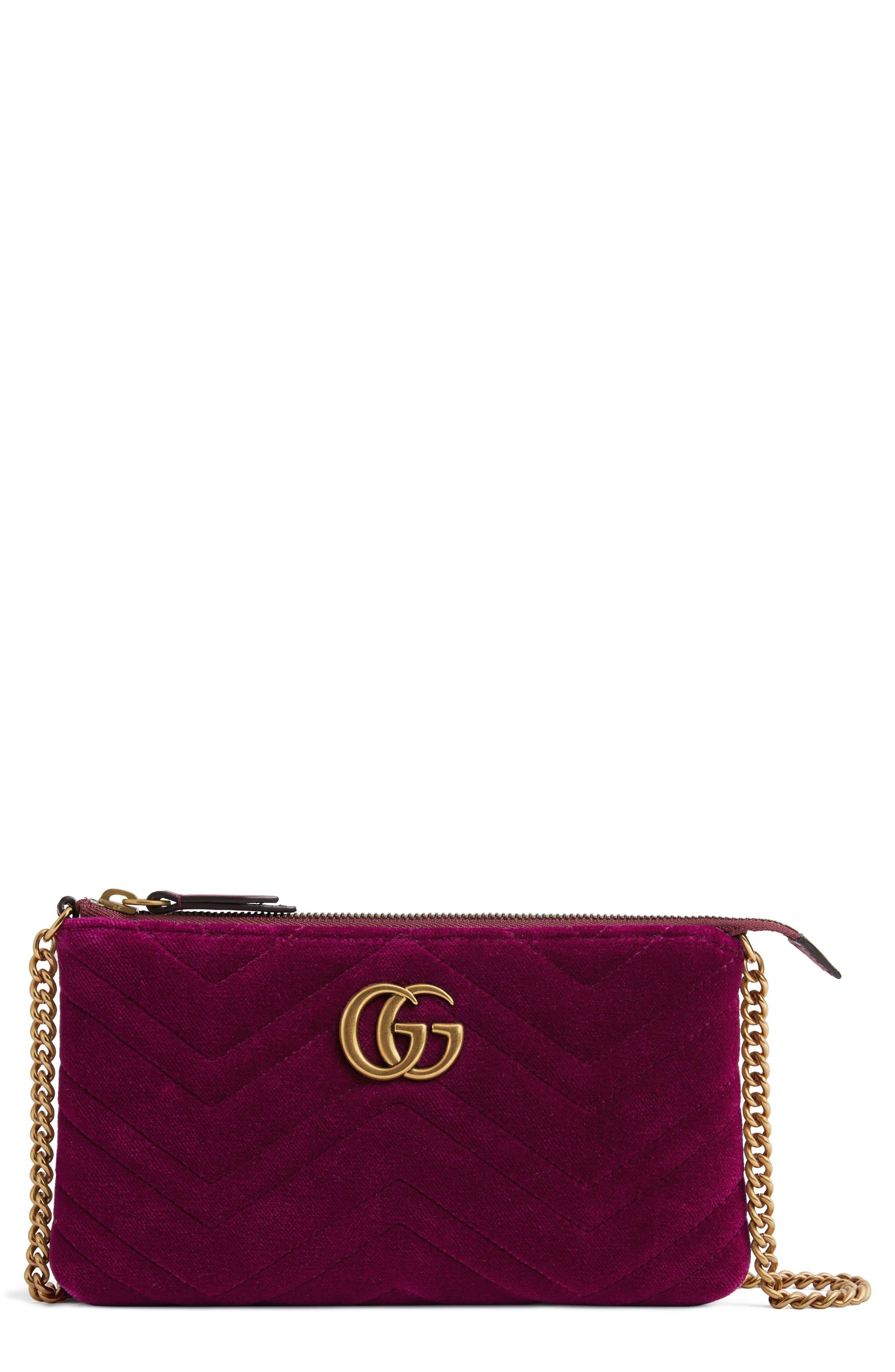 Gucci Mini GG Marmont 2.0 Matelassé Velvet Shoulder Bag