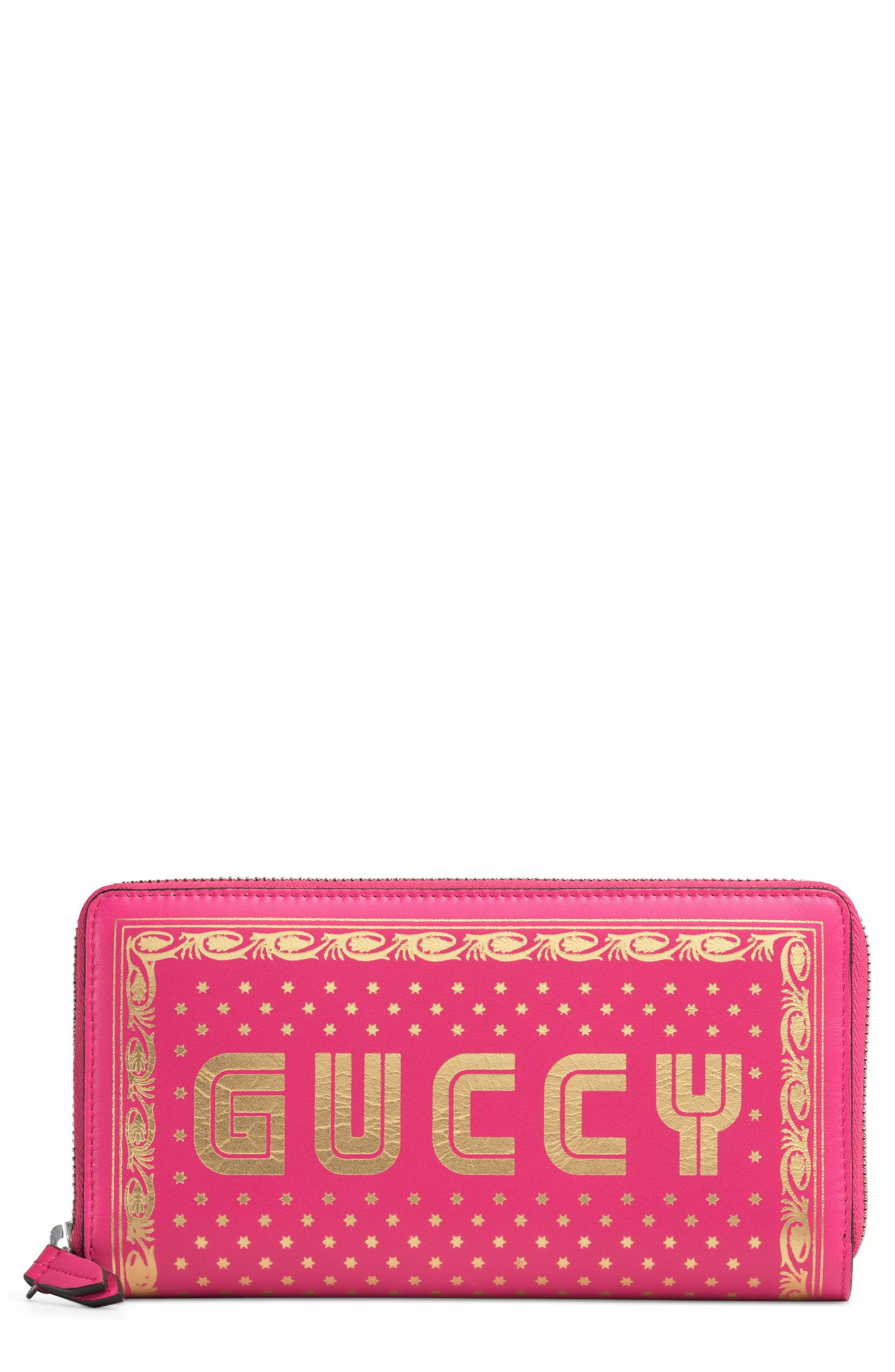 Guccy Moon & Stars Leather Zip Around Wallet,                             Main thumbnail 1, color,                             Bright Fucsia Oro