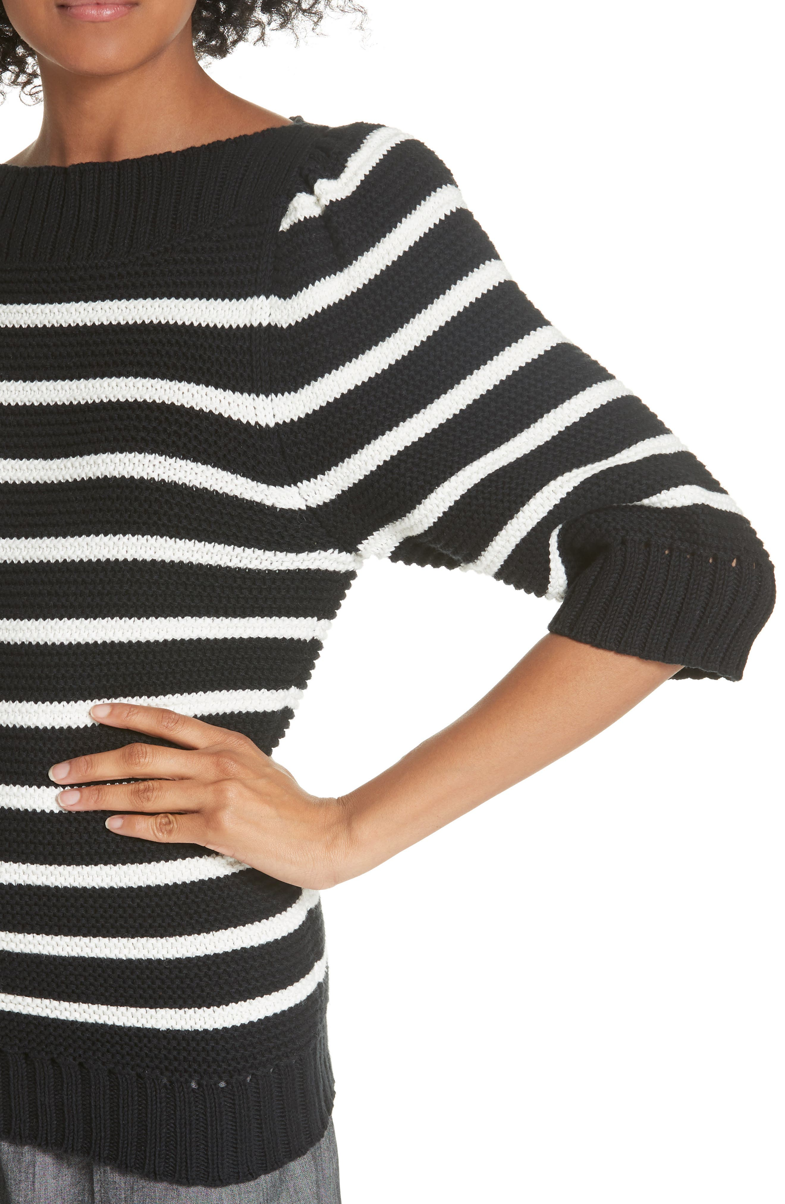 Puff Sleeve Stripe Sweater,                             Alternate thumbnail 4, color,                             Black Combo