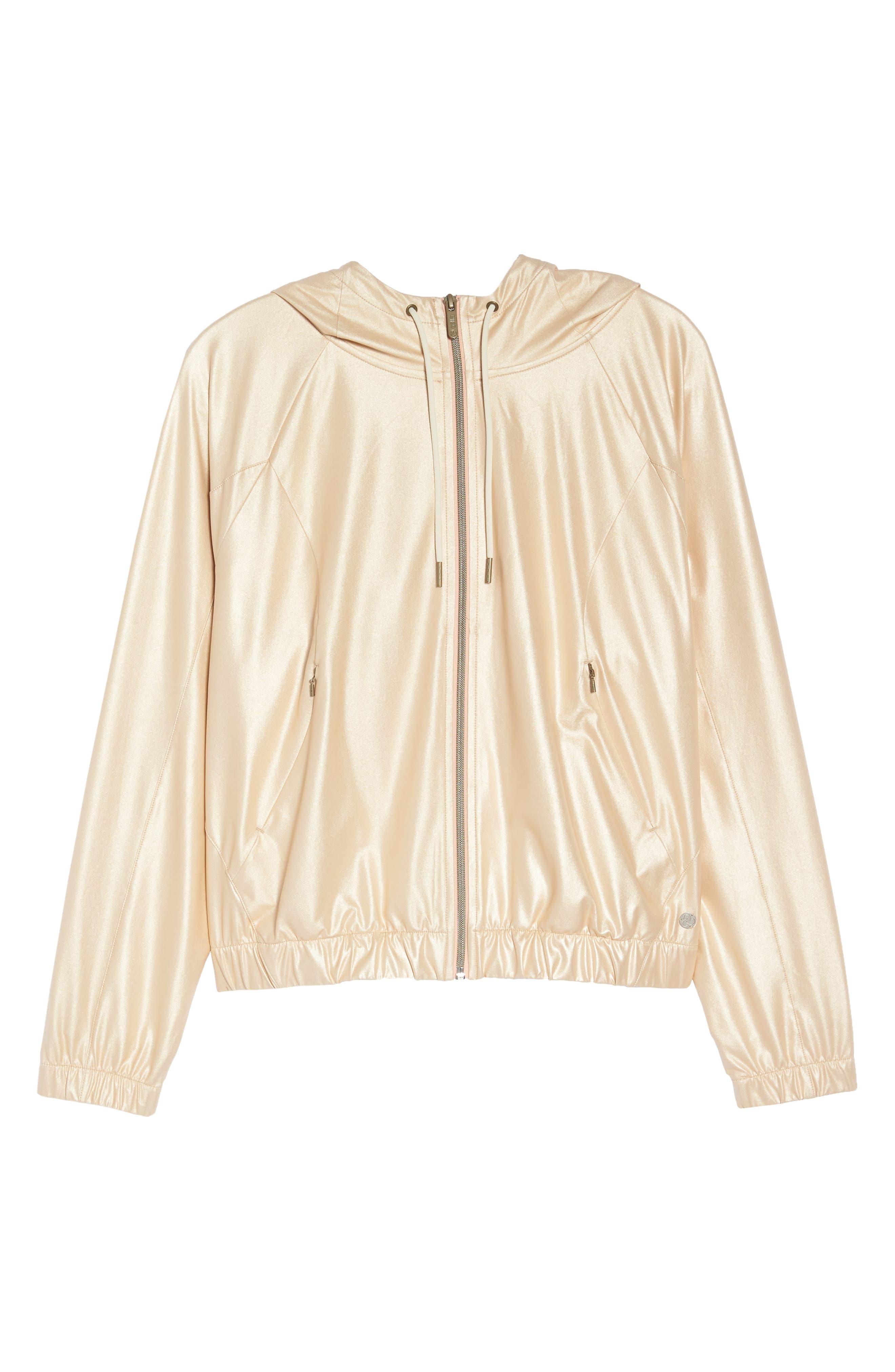 Style Game Shine Hooded Jacket,                             Alternate thumbnail 7, color,                             Metallic Oro