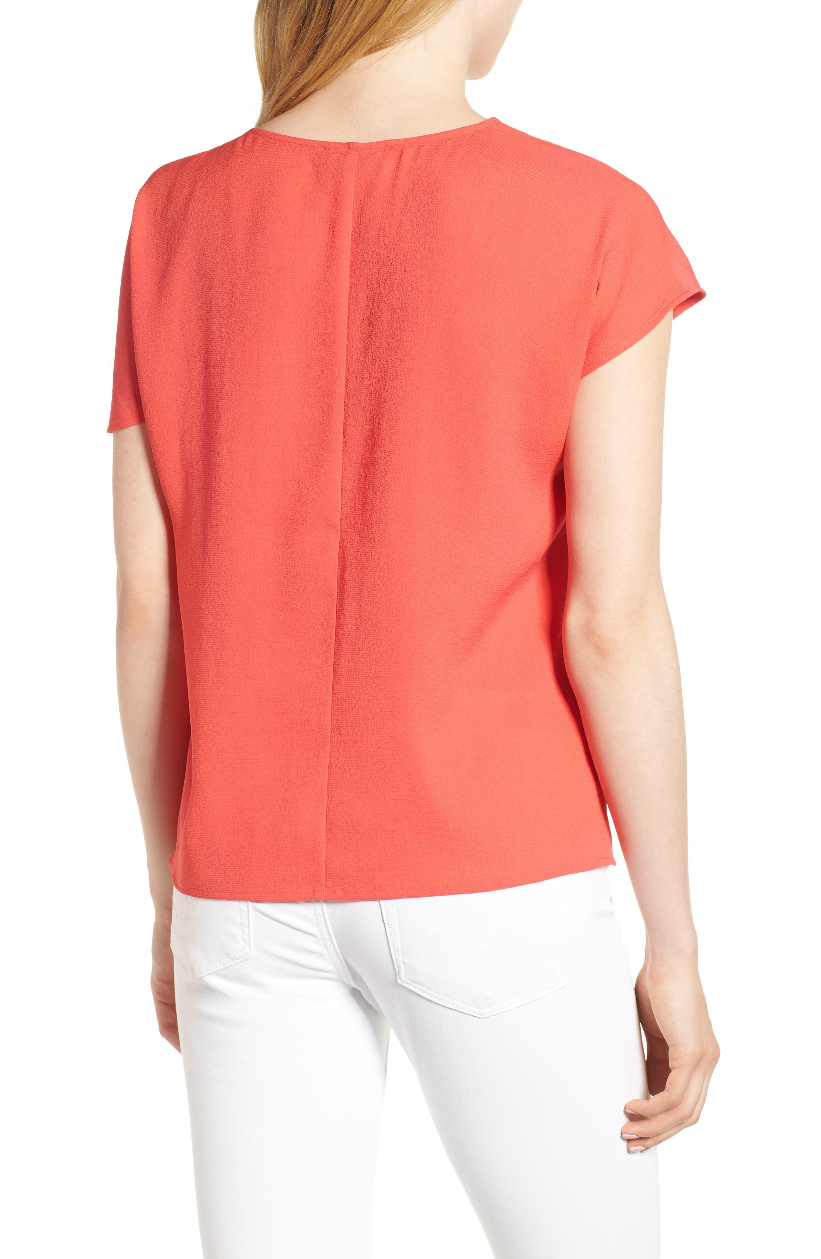 Asymmetrical Shoulder Top,                             Alternate thumbnail 2, color,                             Red Hibiscus