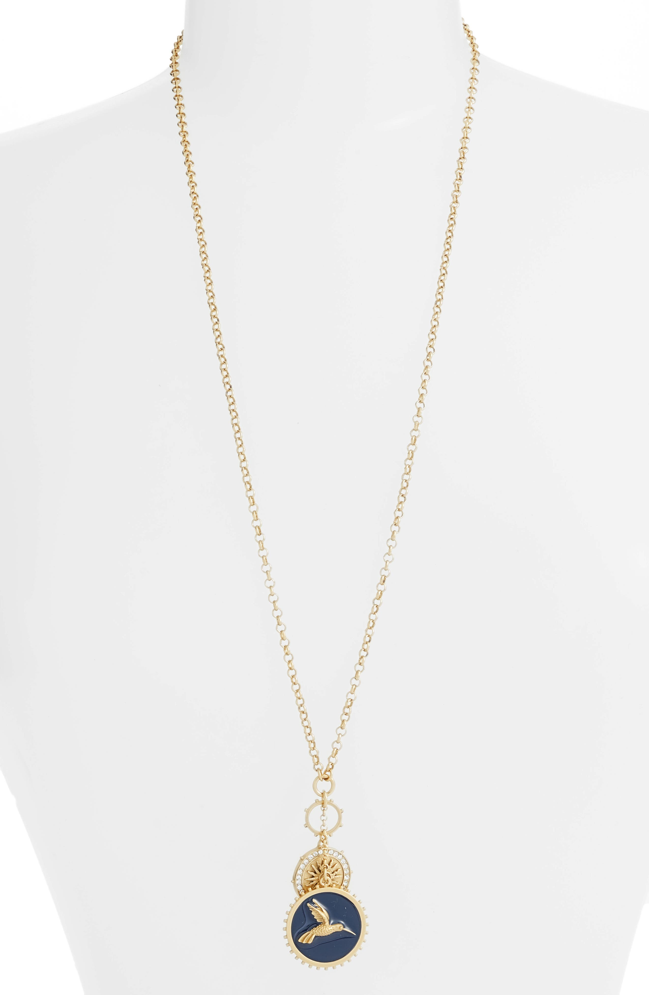 Enamel Hummingbird Pendant Necklace,                         Main,                         color, Gold