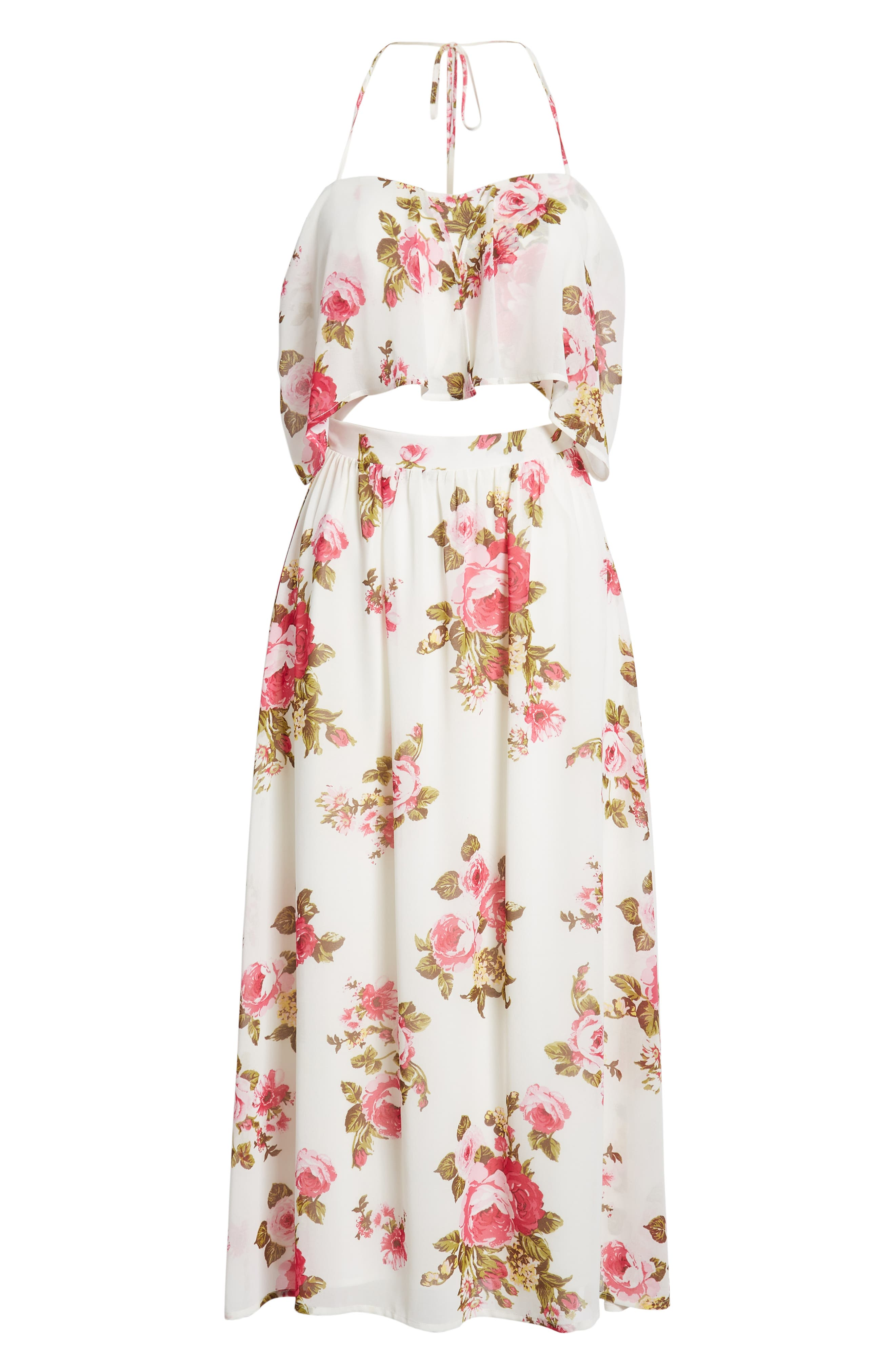 Floral Print Halter Midi Dress,                             Alternate thumbnail 7, color,                             Ivory Floral
