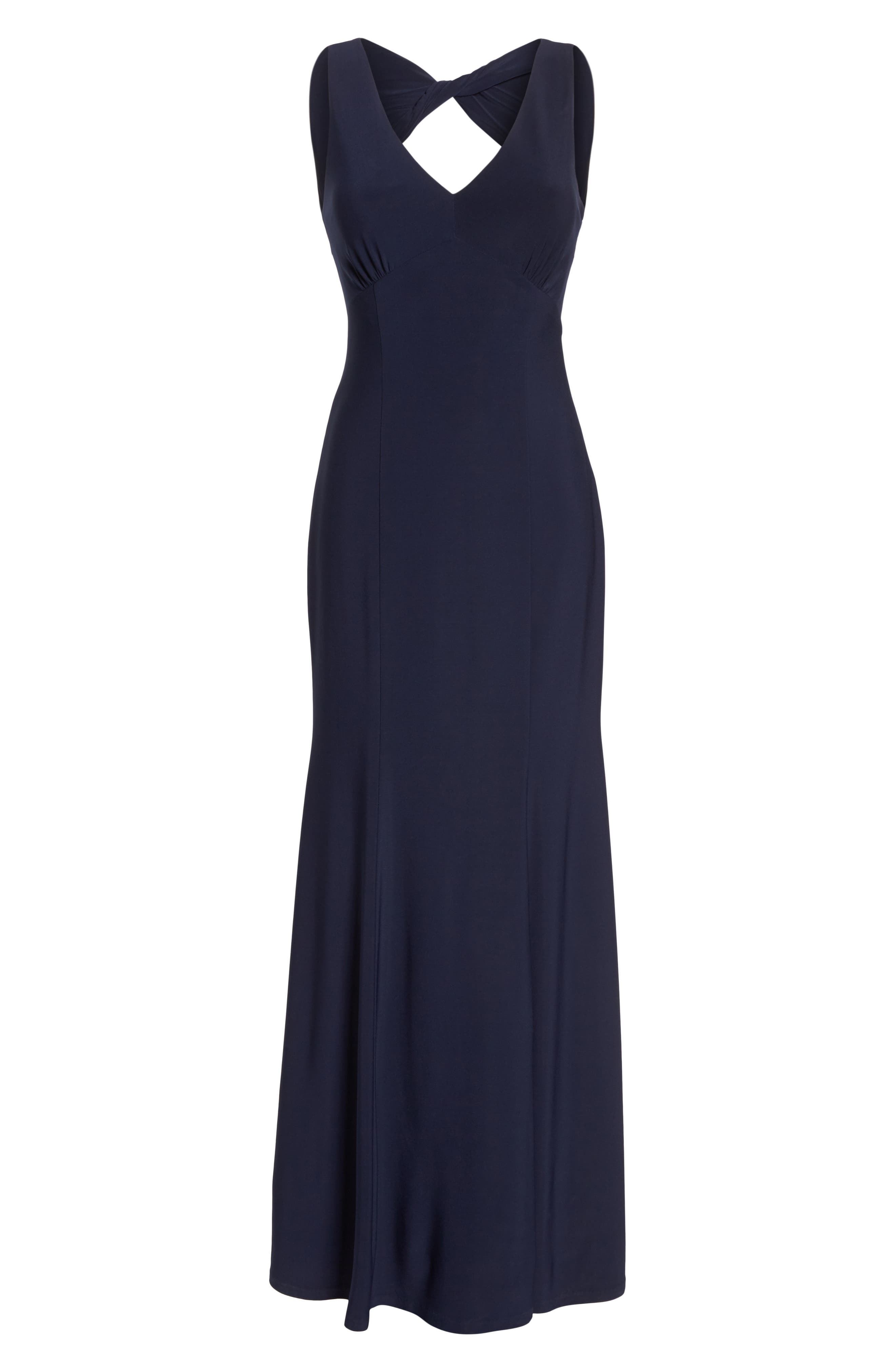 Open Back Gown,                             Alternate thumbnail 7, color,                             Navy