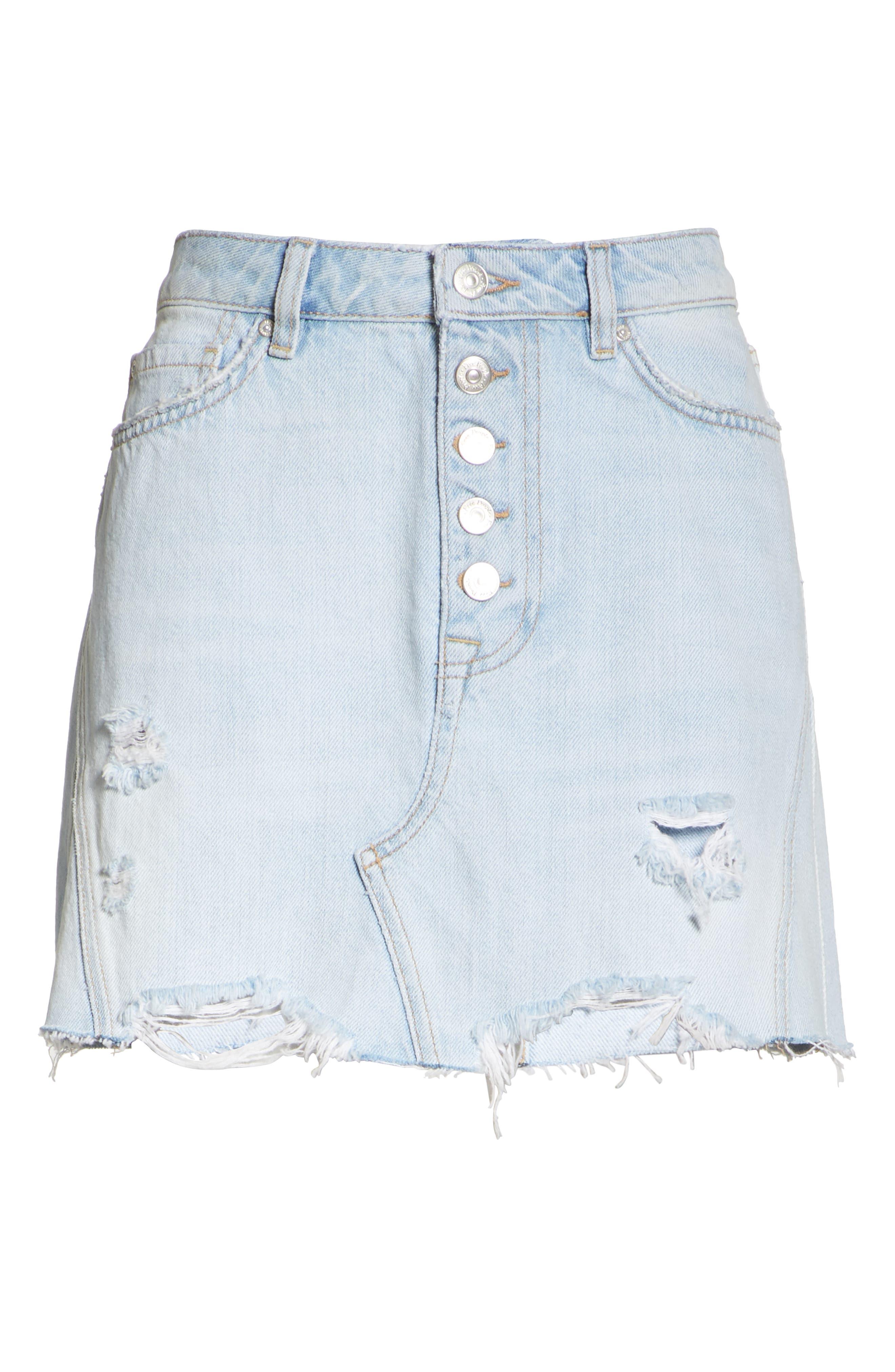 Denim A-Line Skirt,                             Alternate thumbnail 6, color,                             Light Denim