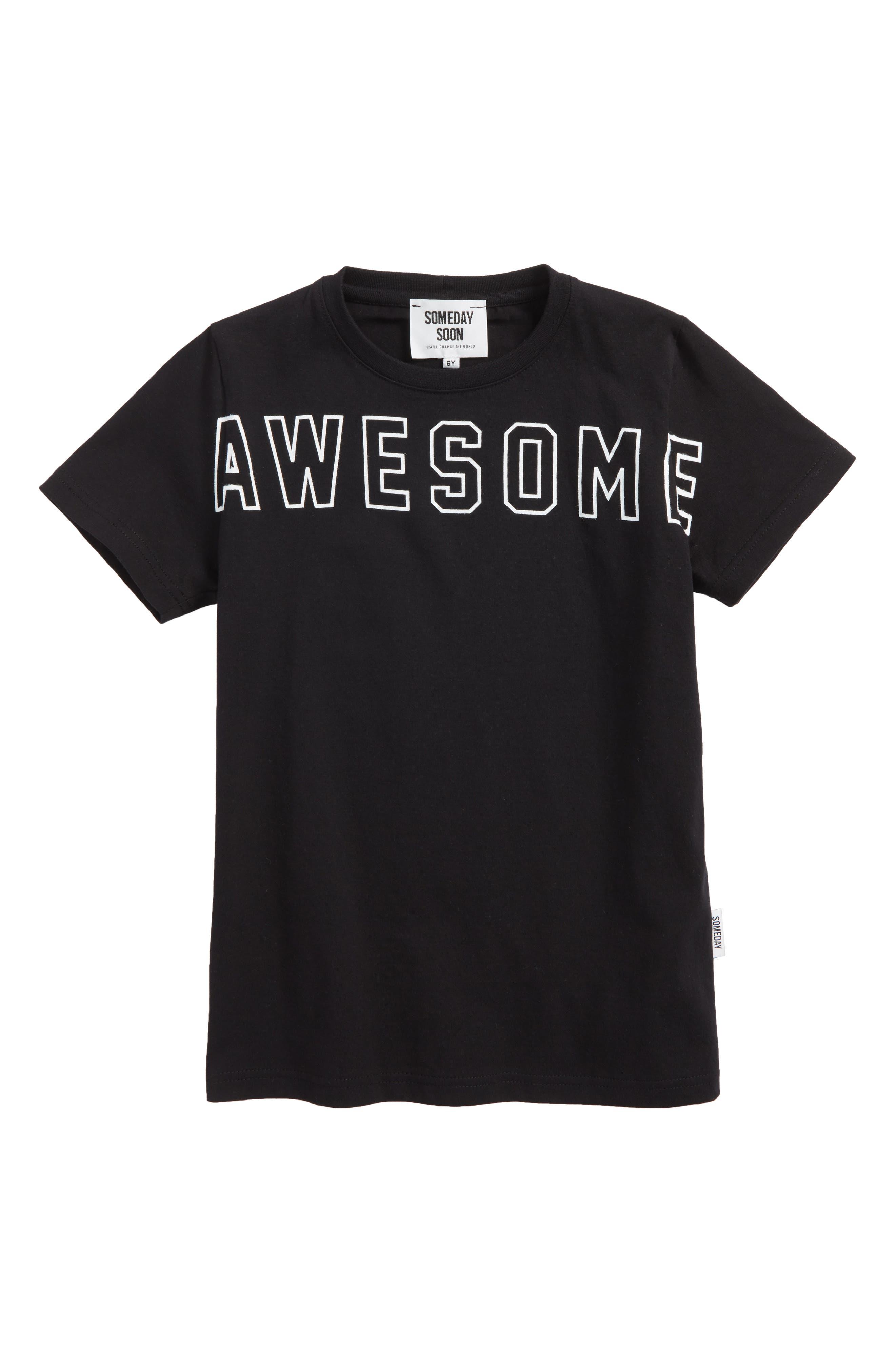 Awesome Graphic Organic Cotton T-Shirt,                             Main thumbnail 1, color,                             Black