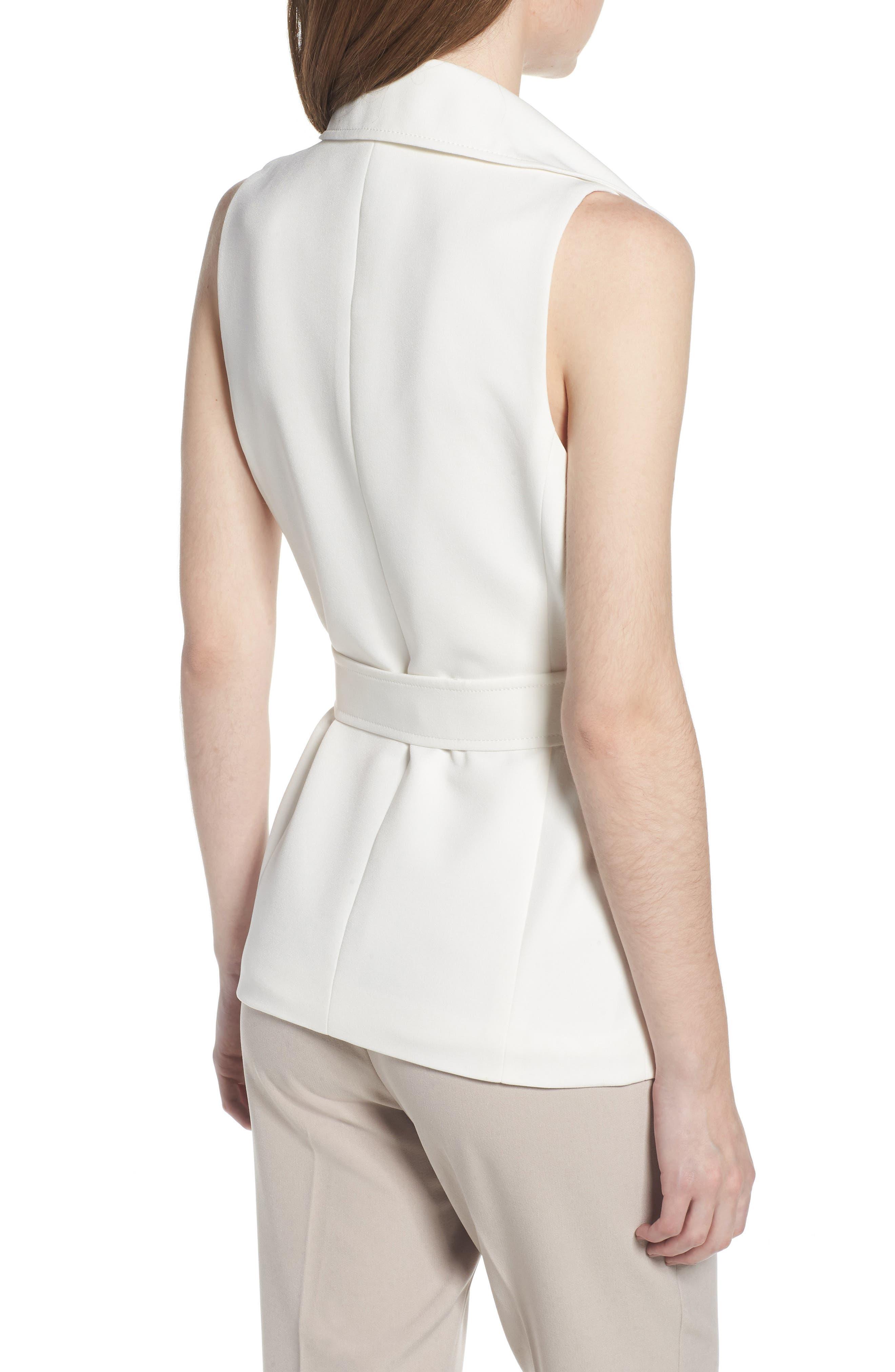 Tie Front Vest,                             Alternate thumbnail 2, color,                             White