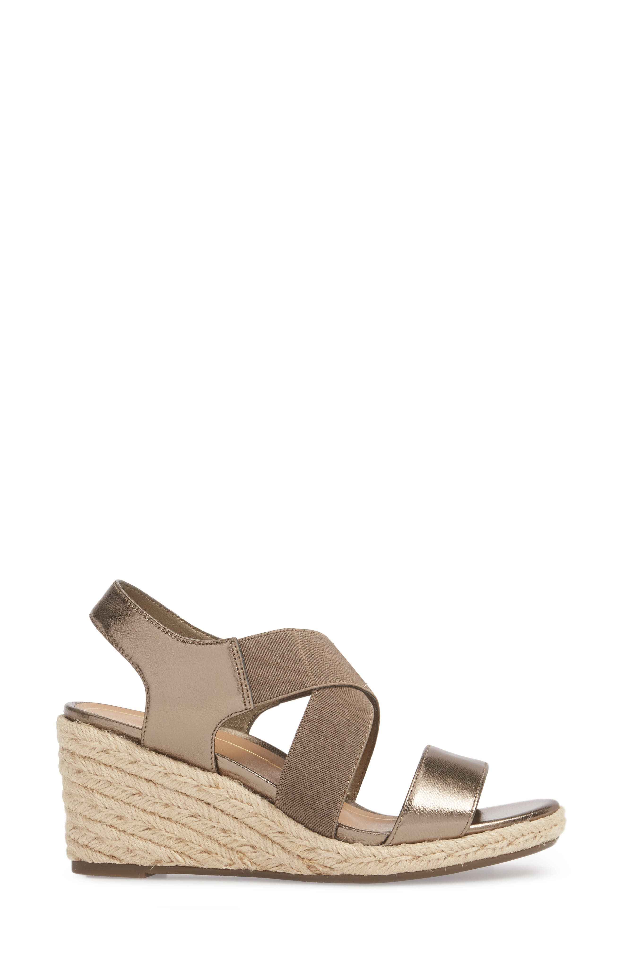 Ainsleigh Wedge Sandal,                             Alternate thumbnail 3, color,                             Dark Taupe Leather