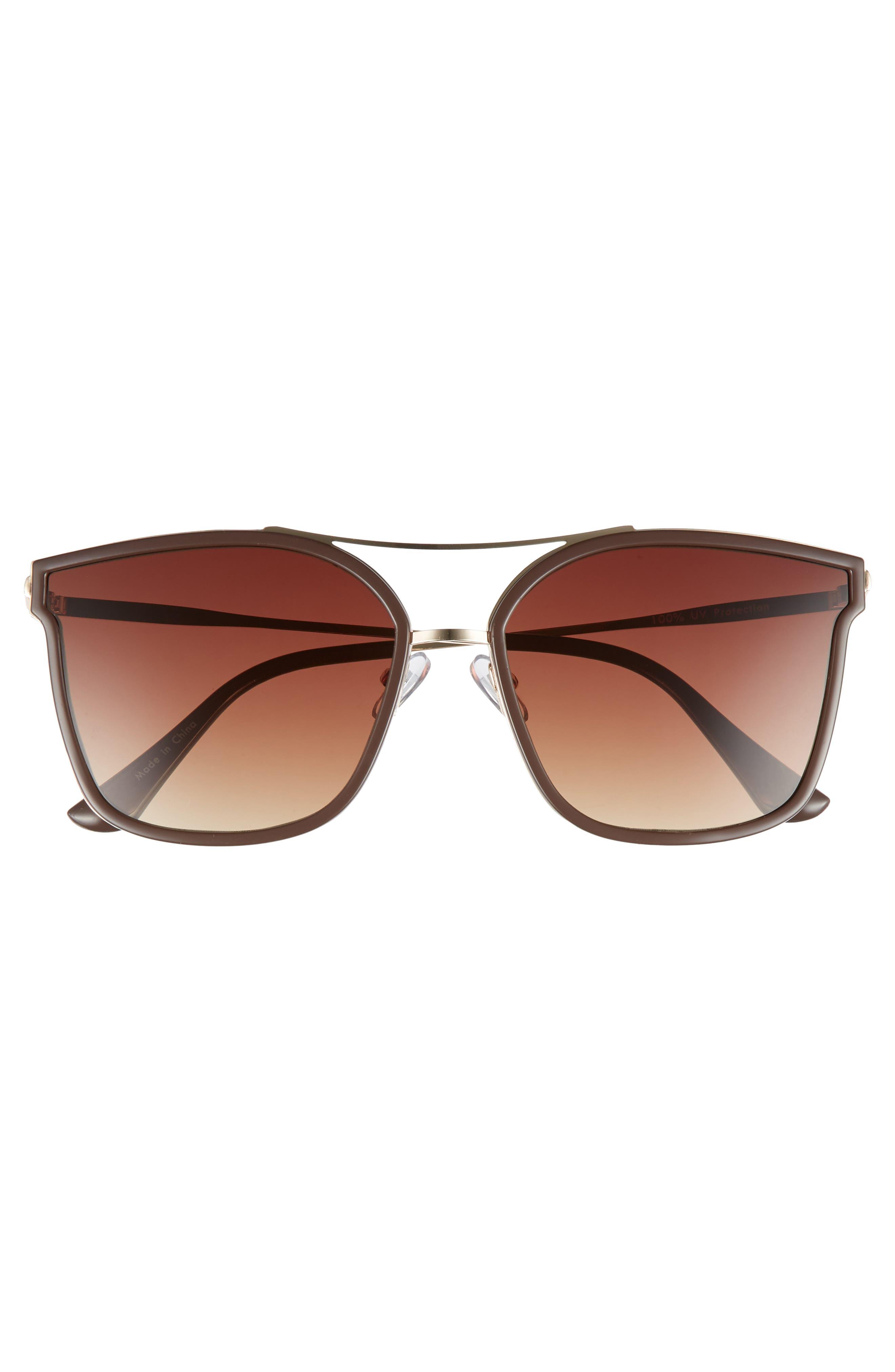 60mm Cat Eye Sunglasses,                             Alternate thumbnail 3, color,                             Gold/ Brown