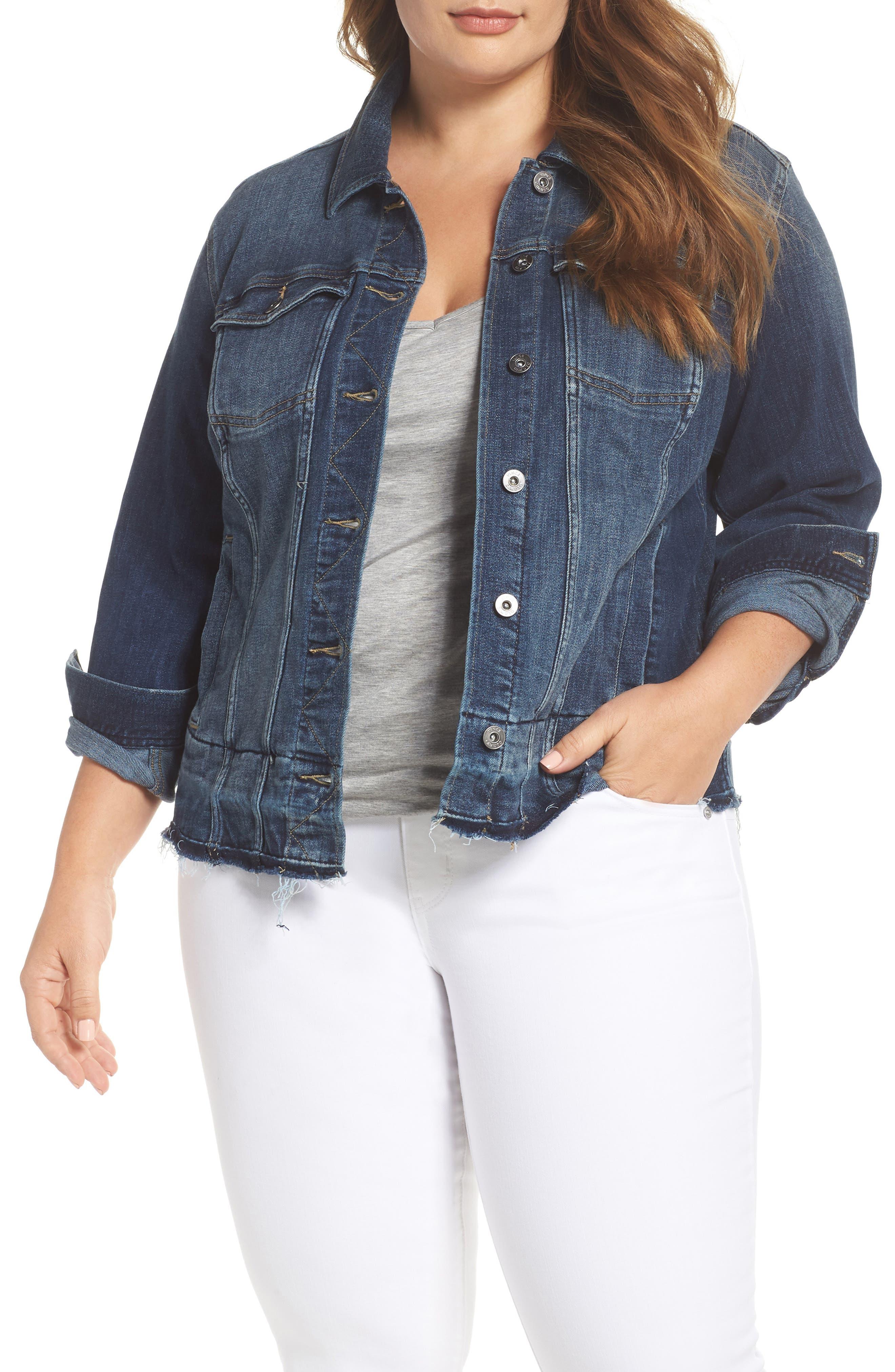 Release Hem Denim Jacket,                         Main,                         color, Mid Vintage