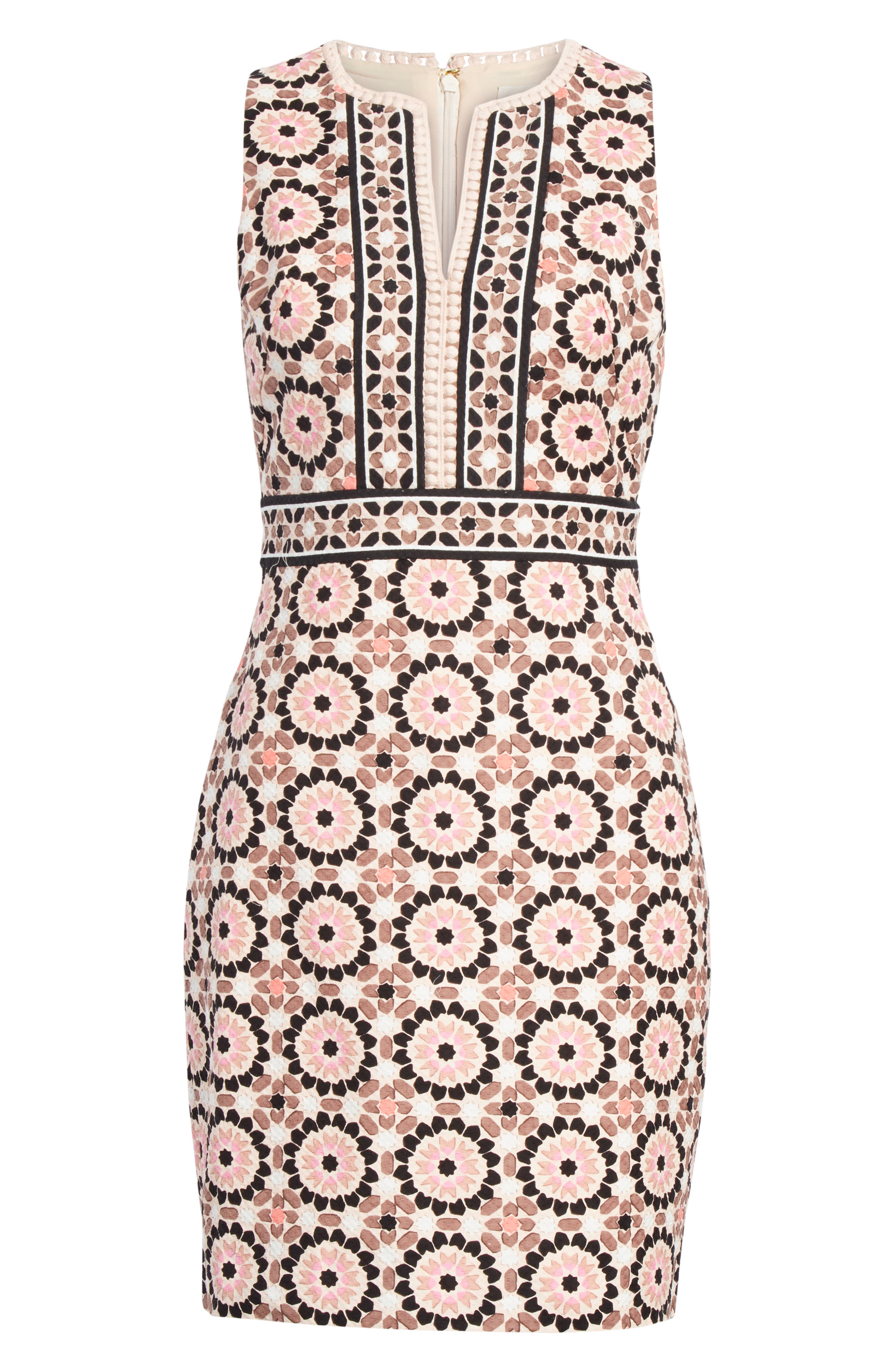floral mosaic jacquard sheath dress,                             Alternate thumbnail 6, color,                             Pearl Pink Multi