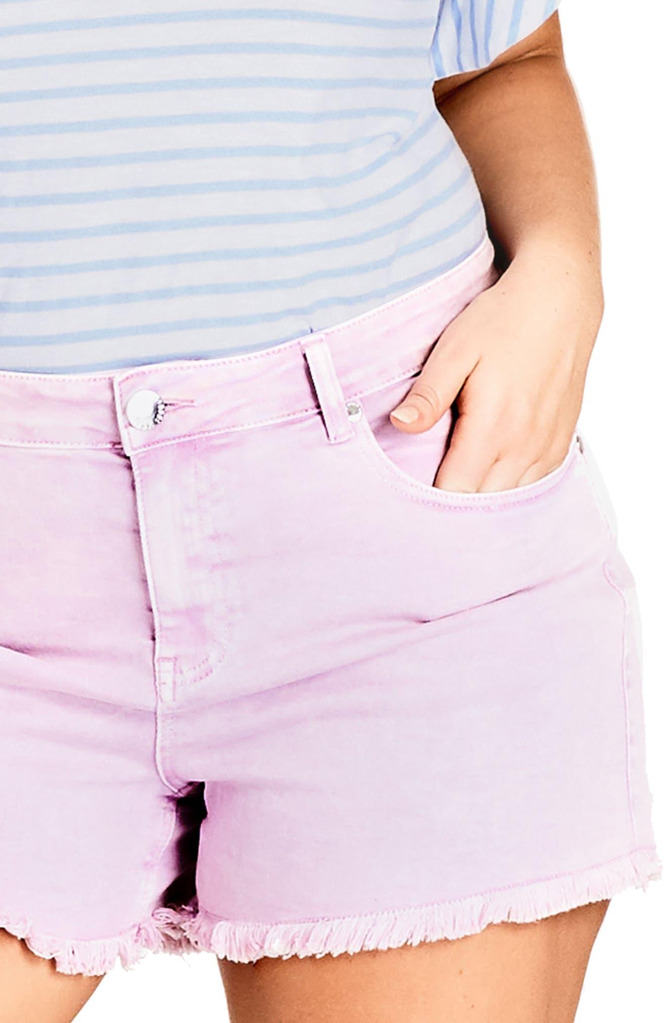 Fray Hem Denim Shorts,                             Alternate thumbnail 3, color,                             Lilac