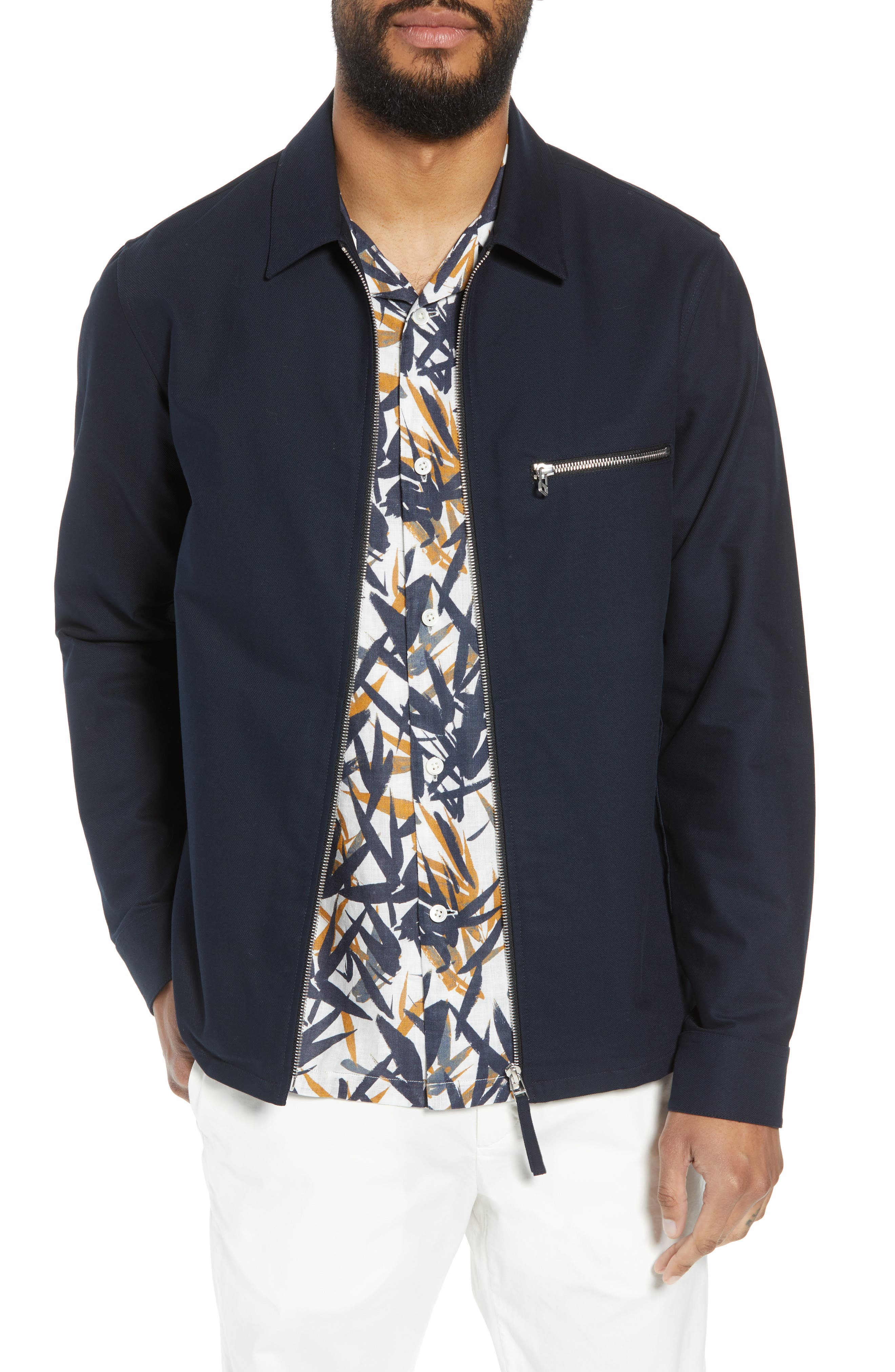 Rye Stretch Cotton Jacket,                         Main,                         color, Eclipse