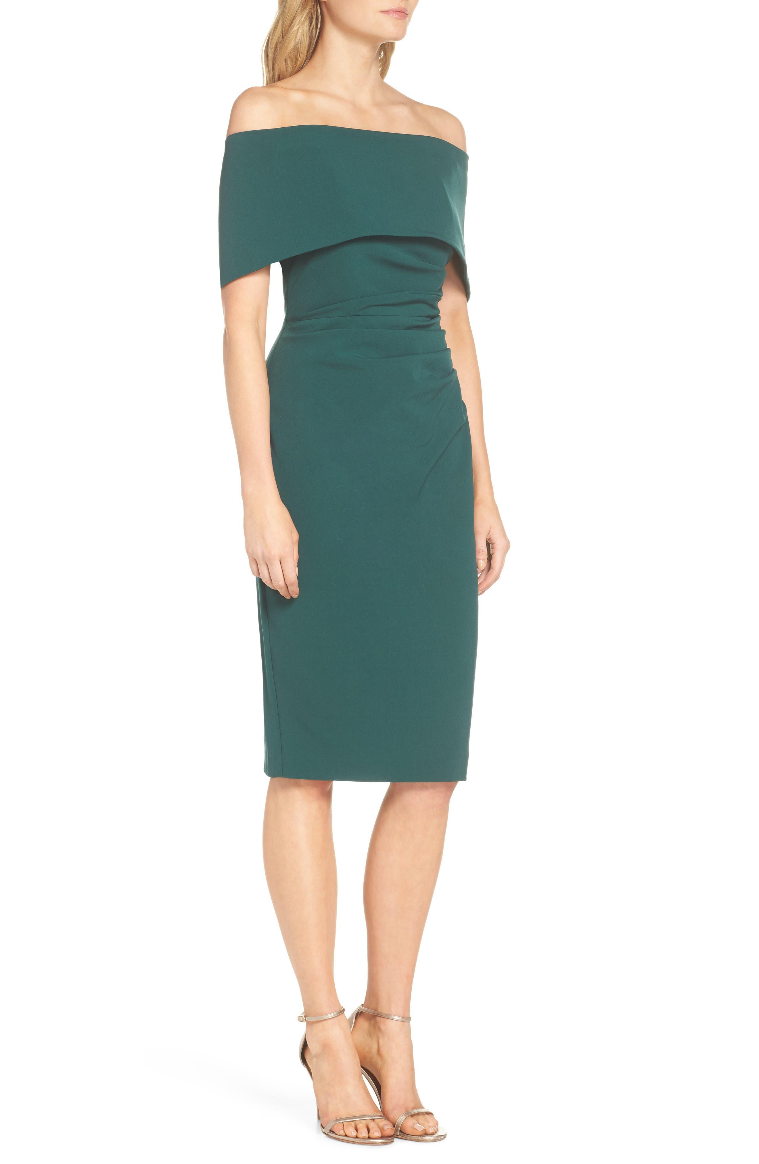 Popover Midi Dress,                             Alternate thumbnail 3, color,                             Emerald