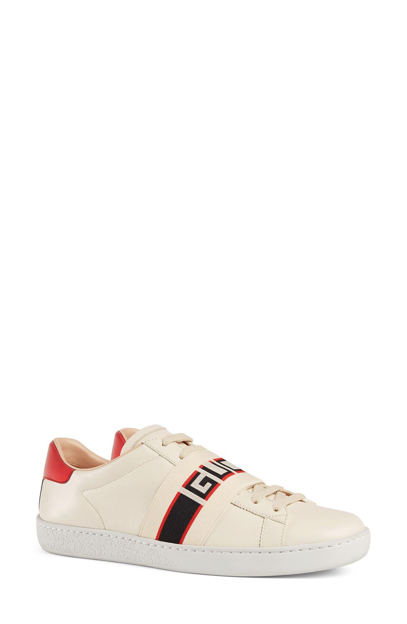 New Ace Logo Strap Sneaker,                         Main,                         color, White