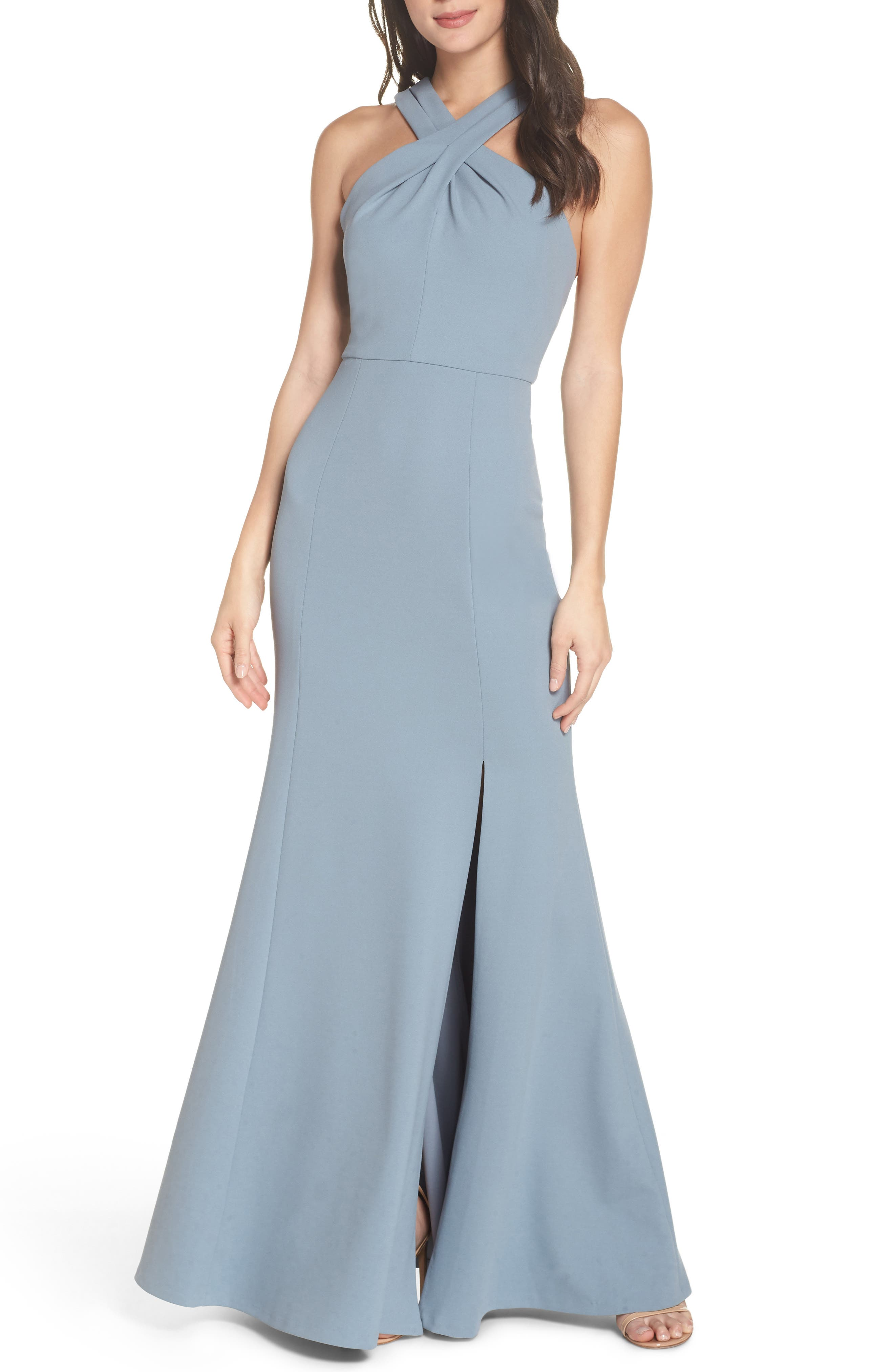 JENNY YOO Kayleigh Cross Front Crepe Knit Gown in Mayan Blue