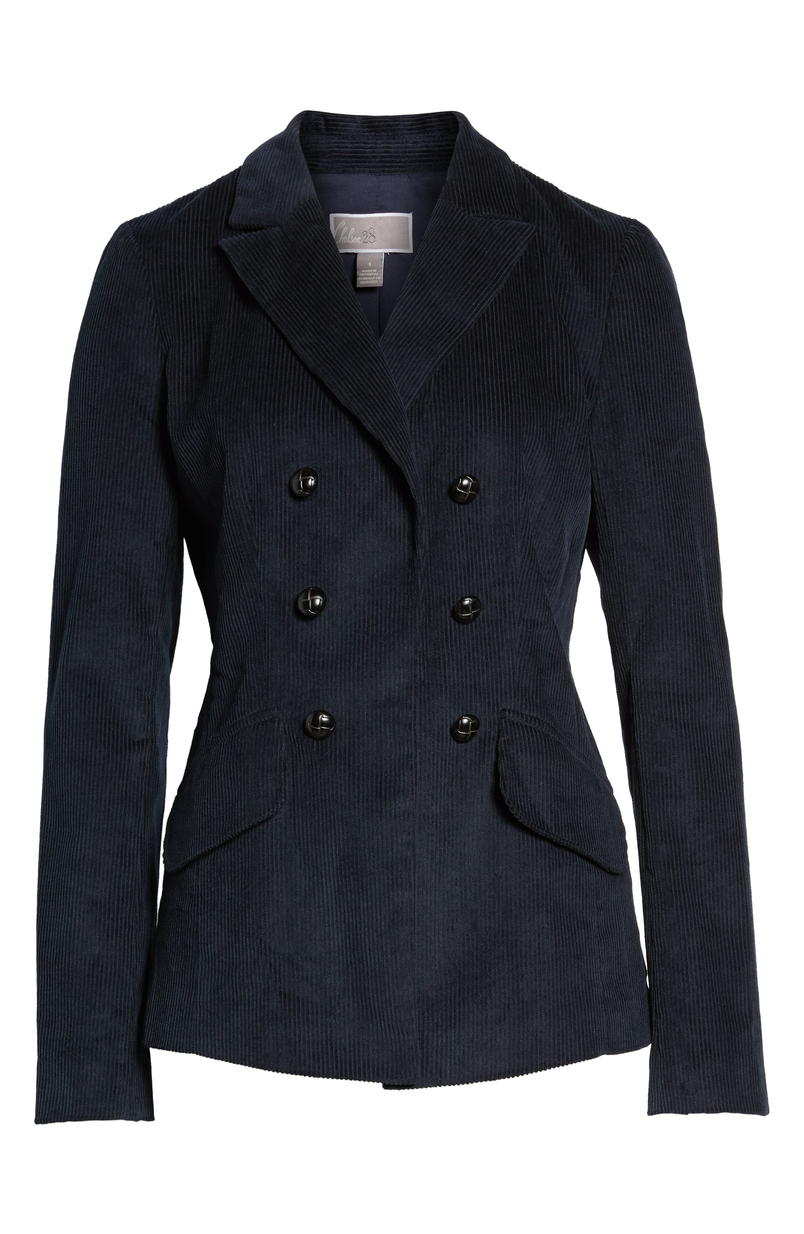 Double Breasted Corduroy Blazer,                             Alternate thumbnail 7, color,                             Navy Sapphire