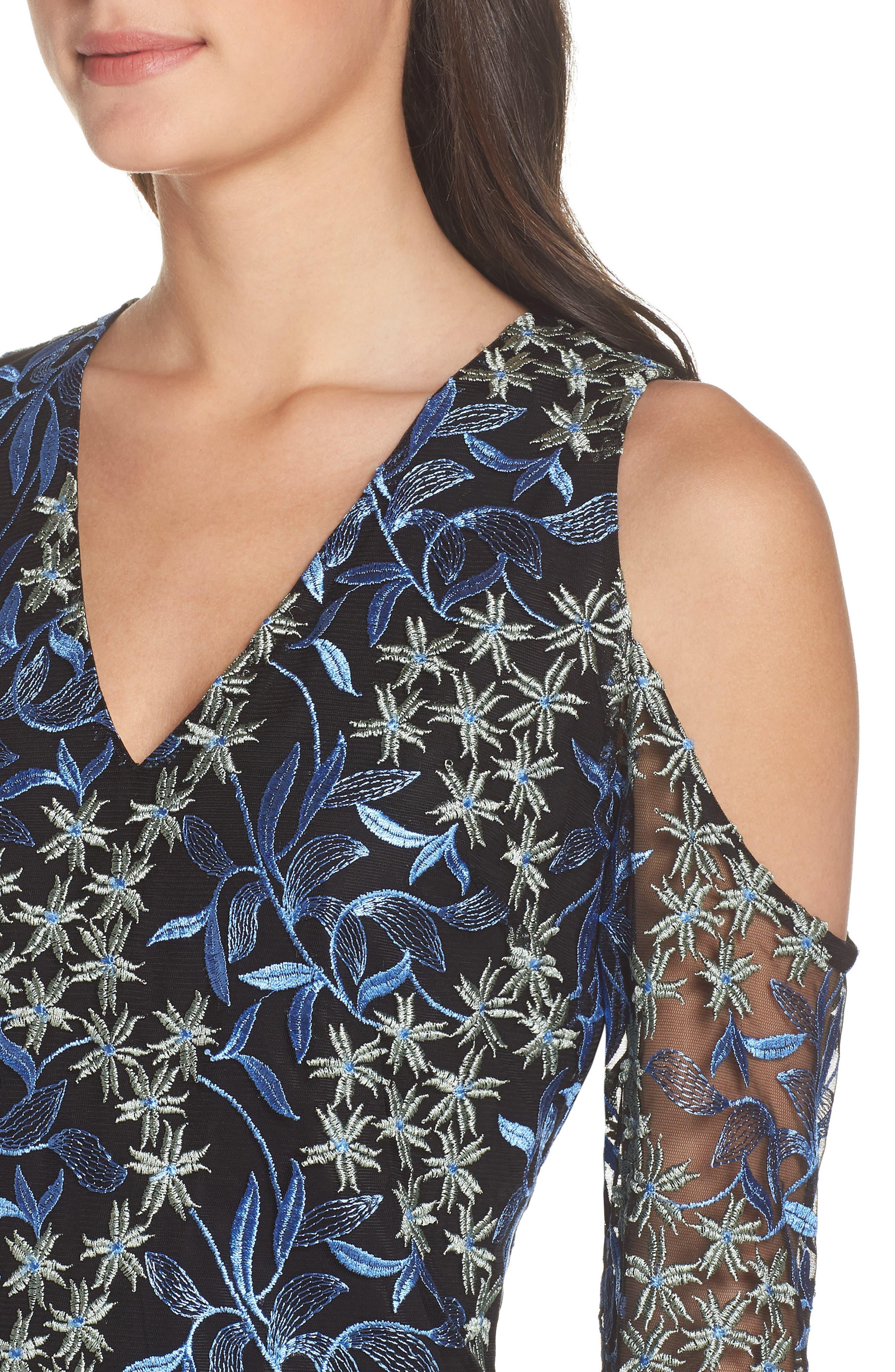 Floral Embroidered Cold Shoulder Dress,                             Alternate thumbnail 4, color,                             Blue/ Green