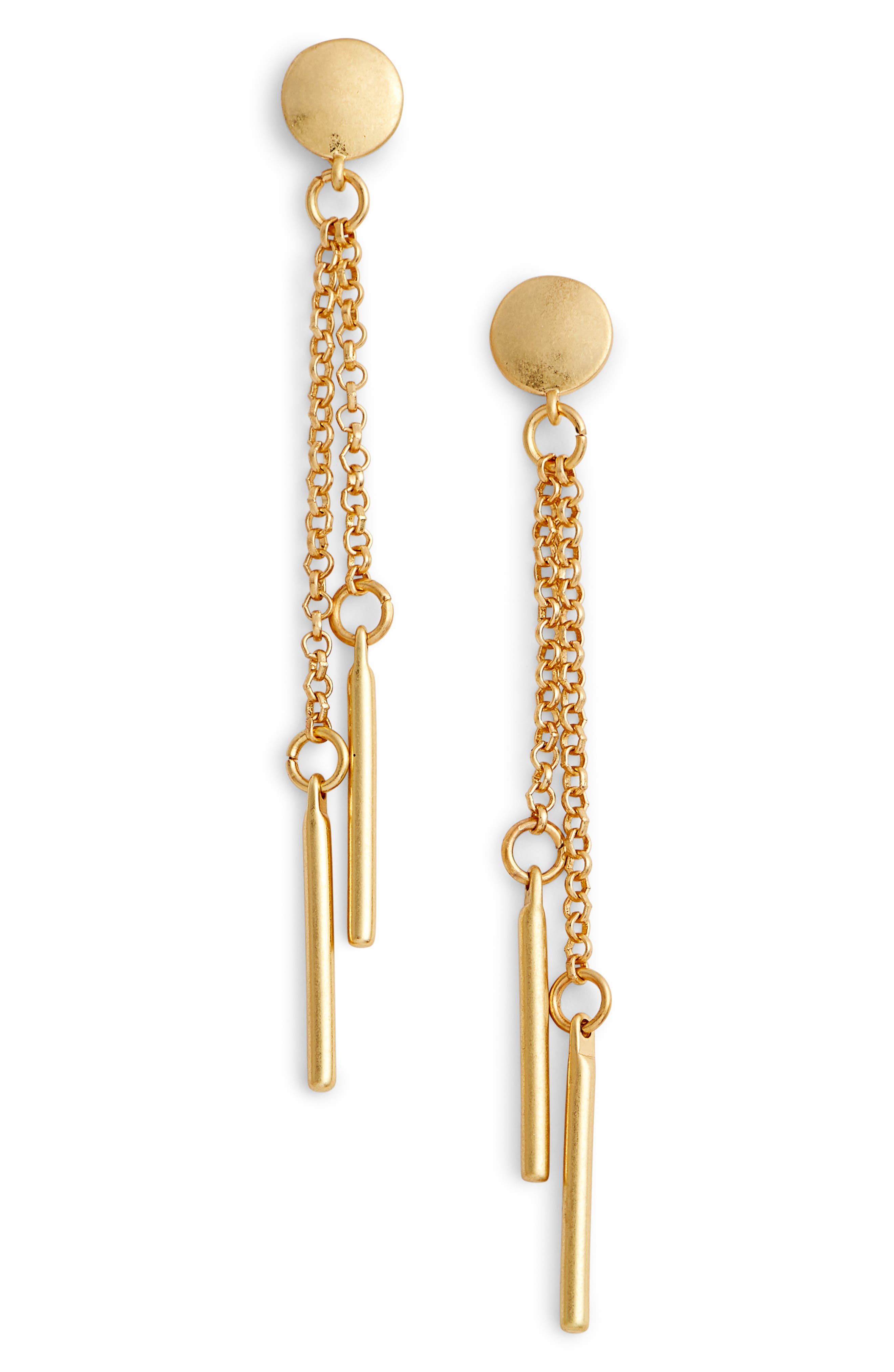 Double Drop Bar Earrings,                         Main,                         color, Gold