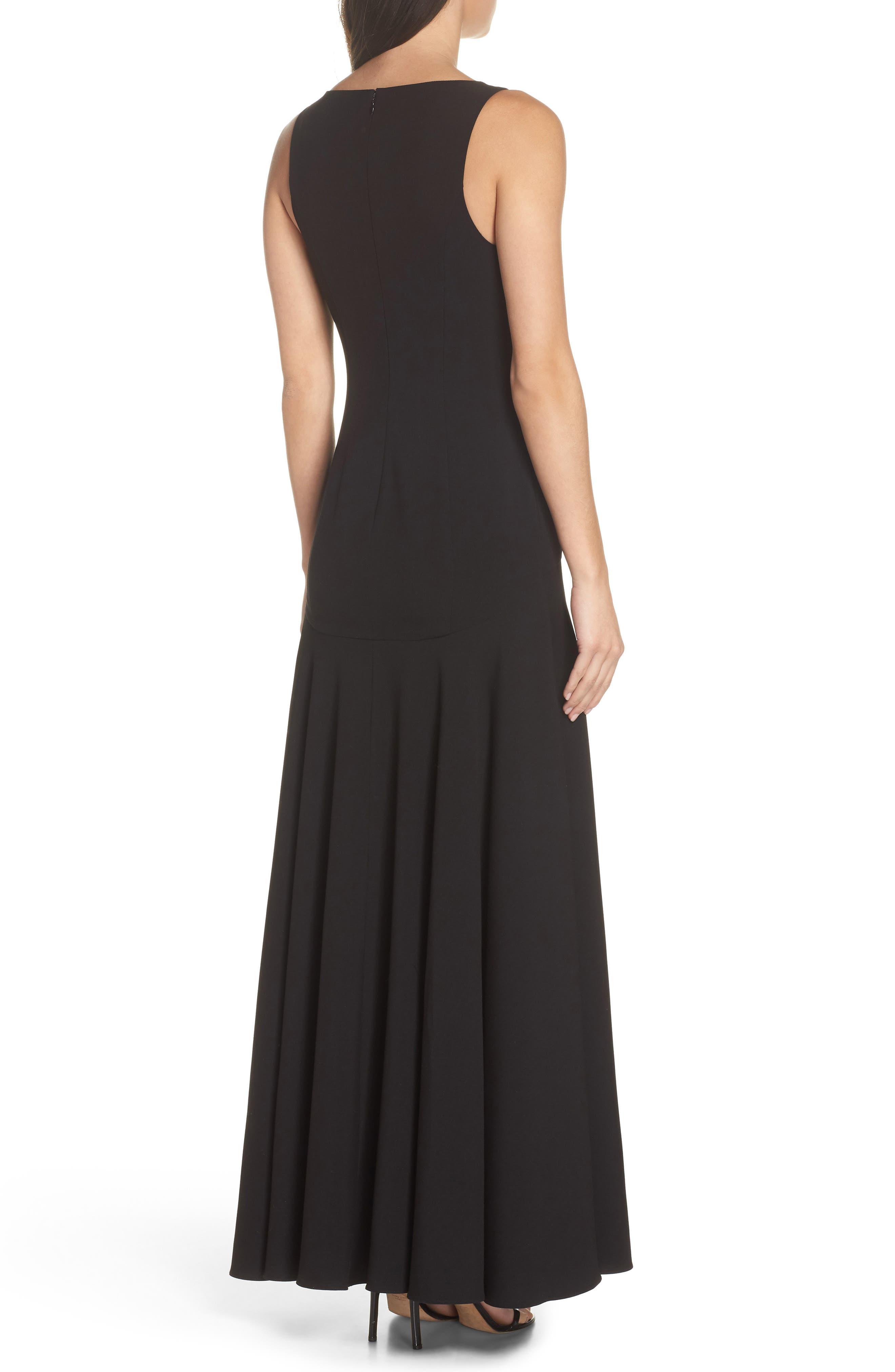 Fame & Partners The Hazel Front Slit Gown,                             Alternate thumbnail 2, color,                             Black