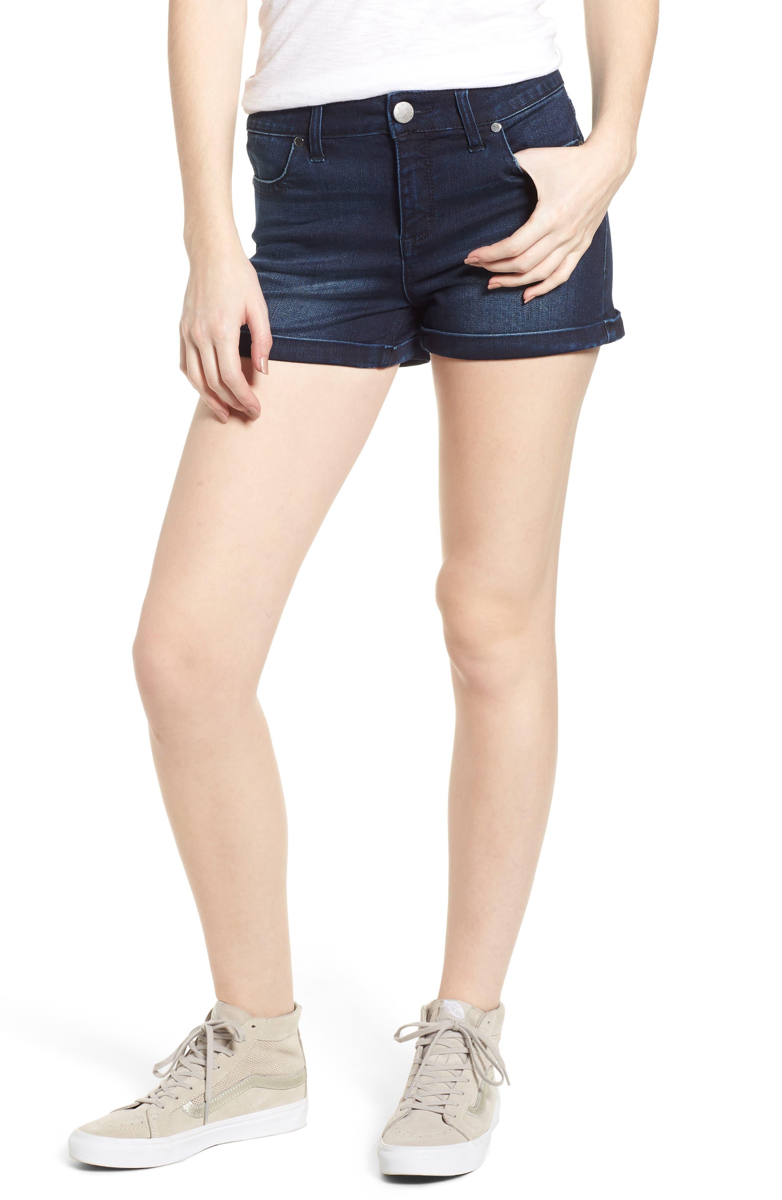 Cuffed Denim Shorts,                         Main,                         color, Dark Wash