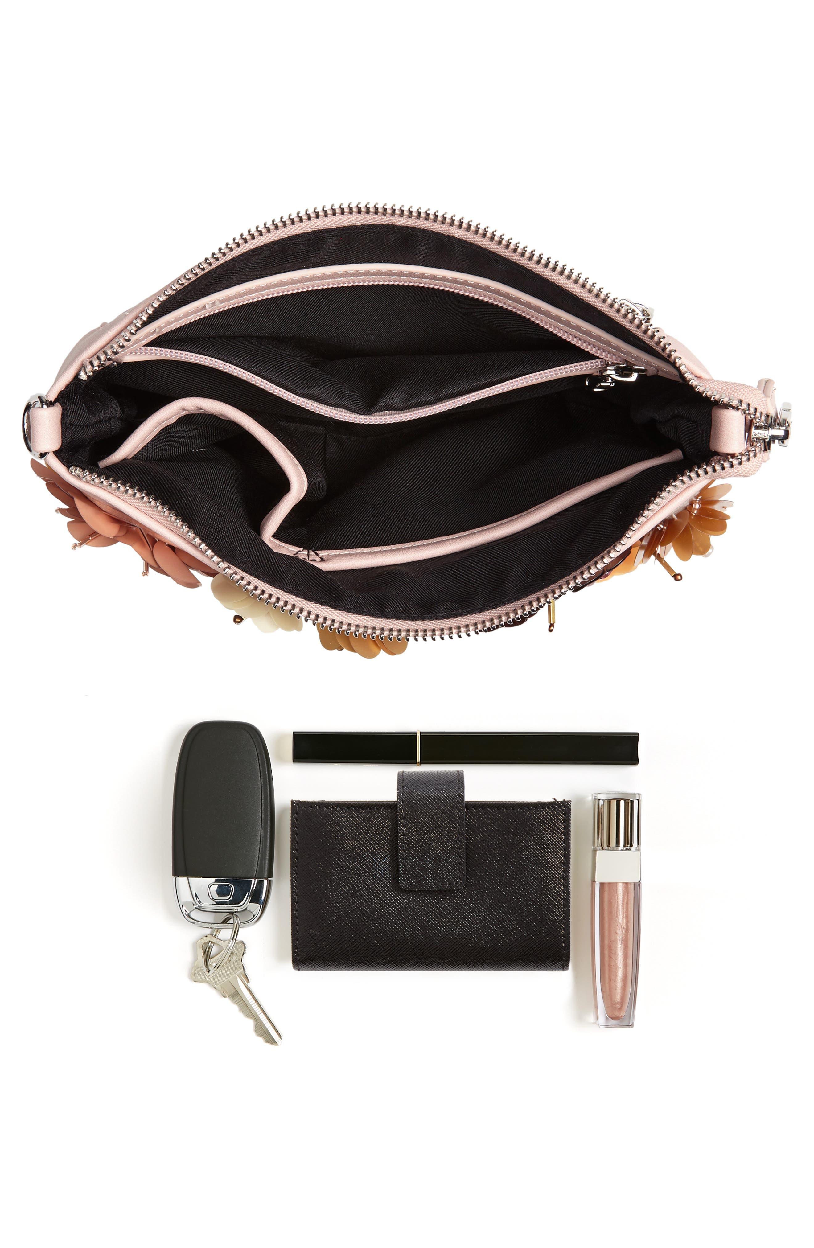 Fleur Convertible Faux Leather Wristlet,                             Alternate thumbnail 8, color,                             Pink Hero