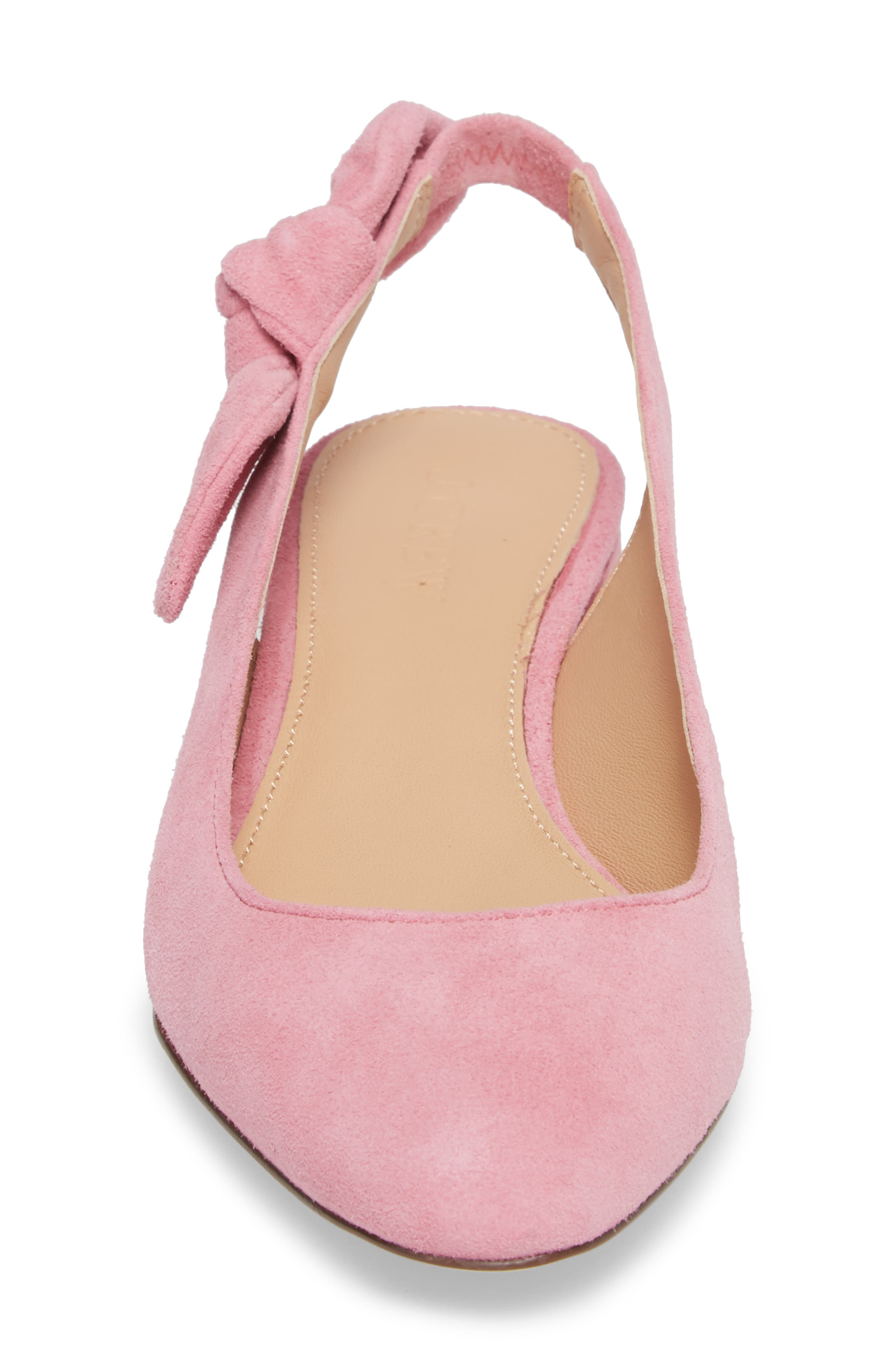 Slingback Bow Pump,                             Alternate thumbnail 4, color,                             Winter Coral Fabric