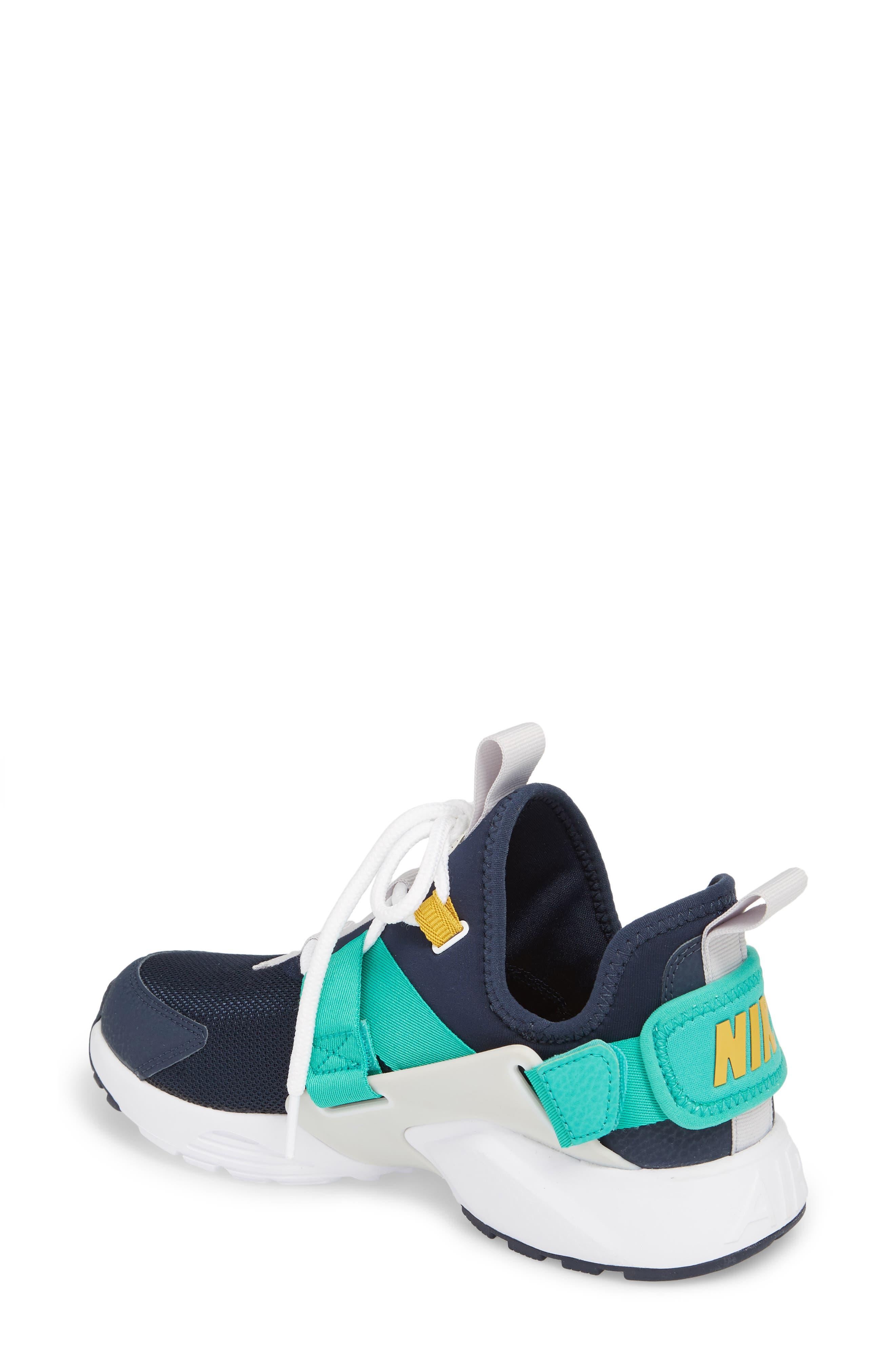 Air Huarache City Low Sneaker,                             Alternate thumbnail 2, color,                             Obsidian/ White/ Grey/ Green