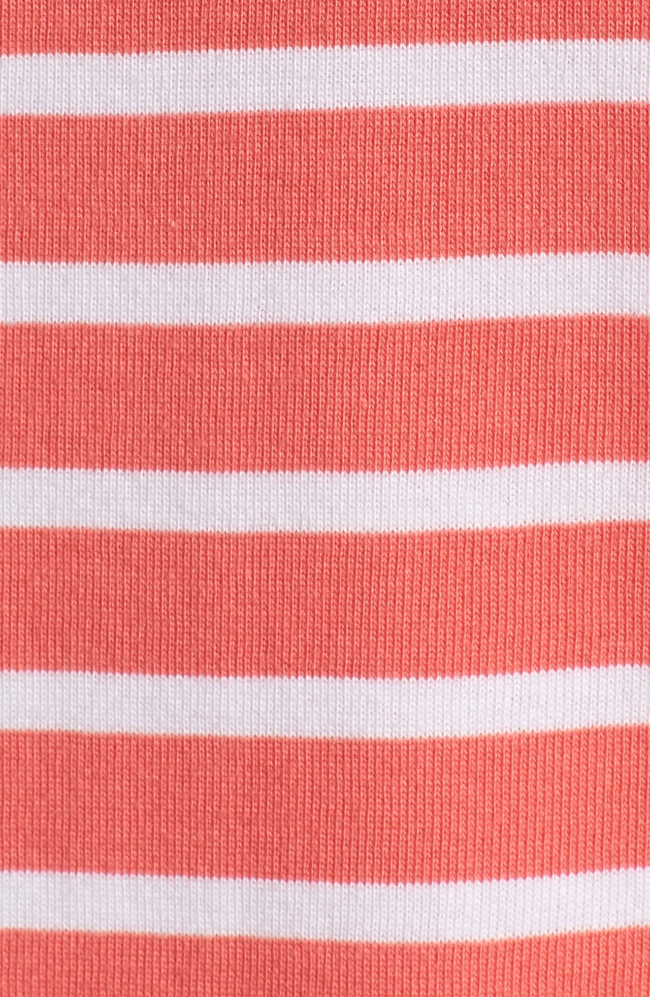 Stripe Cotton Knit Shift Dress,                             Alternate thumbnail 5, color,                             Coral- White Stripe