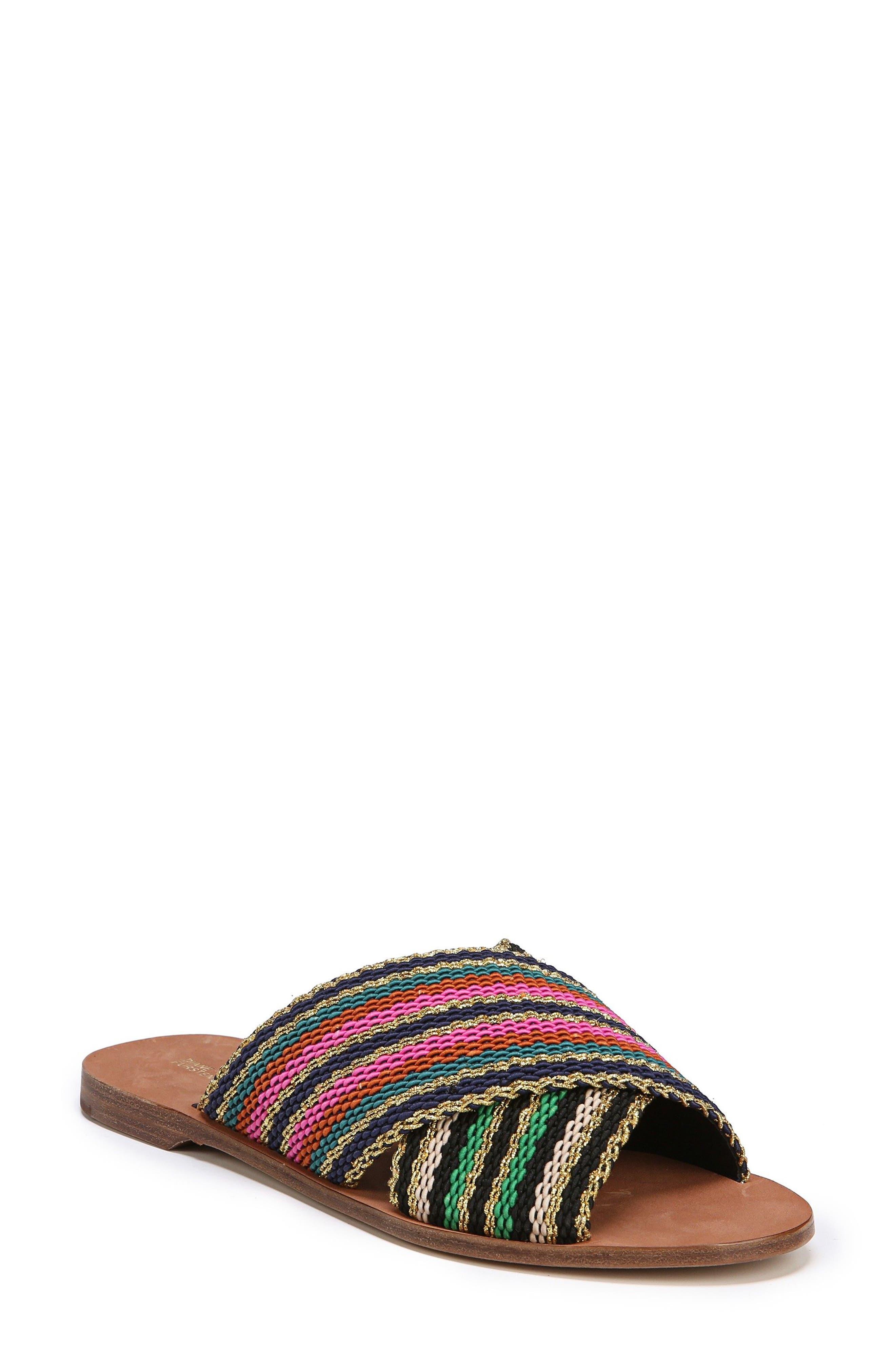 Cindi Woven Slide Sandal,                             Main thumbnail 1, color,                             Black/ Gold