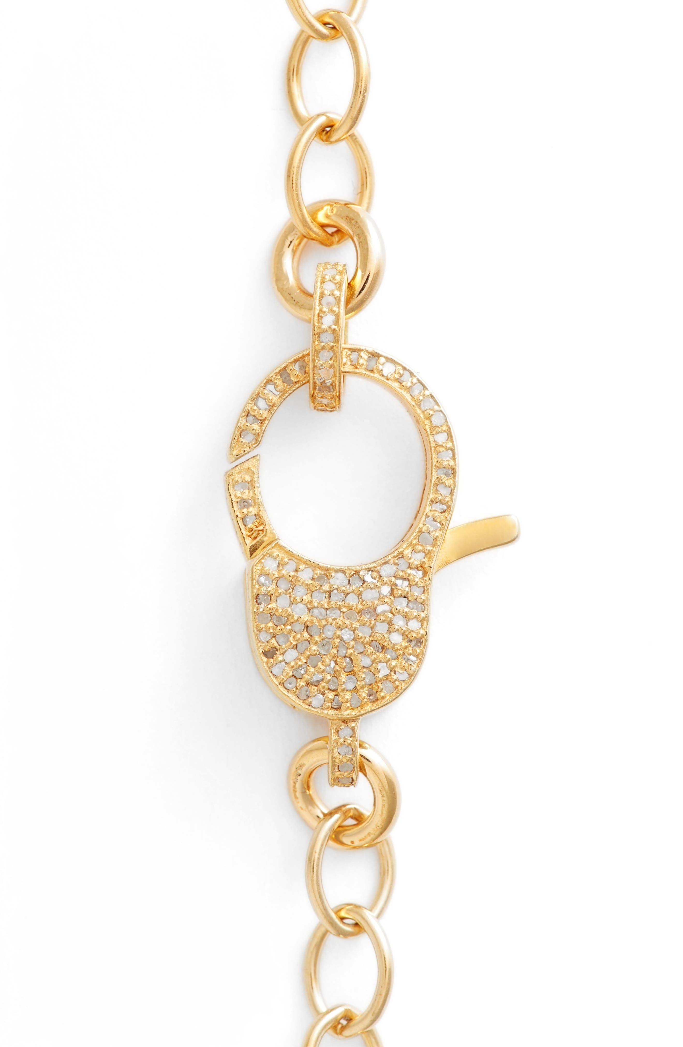 Jane Basch Pavé Diamond Clasp Long Chain Necklace,                             Alternate thumbnail 3, color,                             Gold
