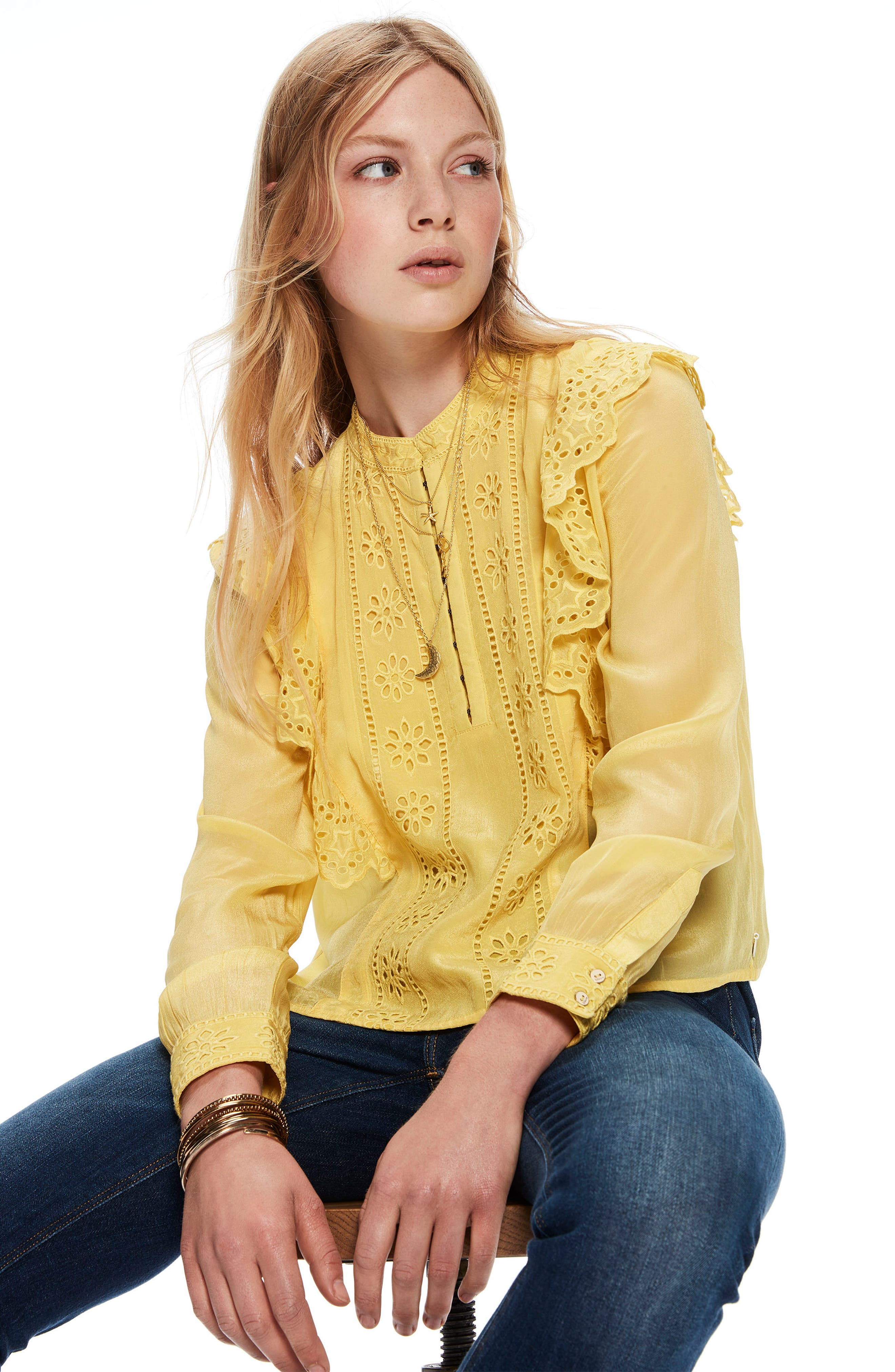 Ruffle Embroidered Eyelet Top,                             Alternate thumbnail 4, color,                             2118 Cheddar