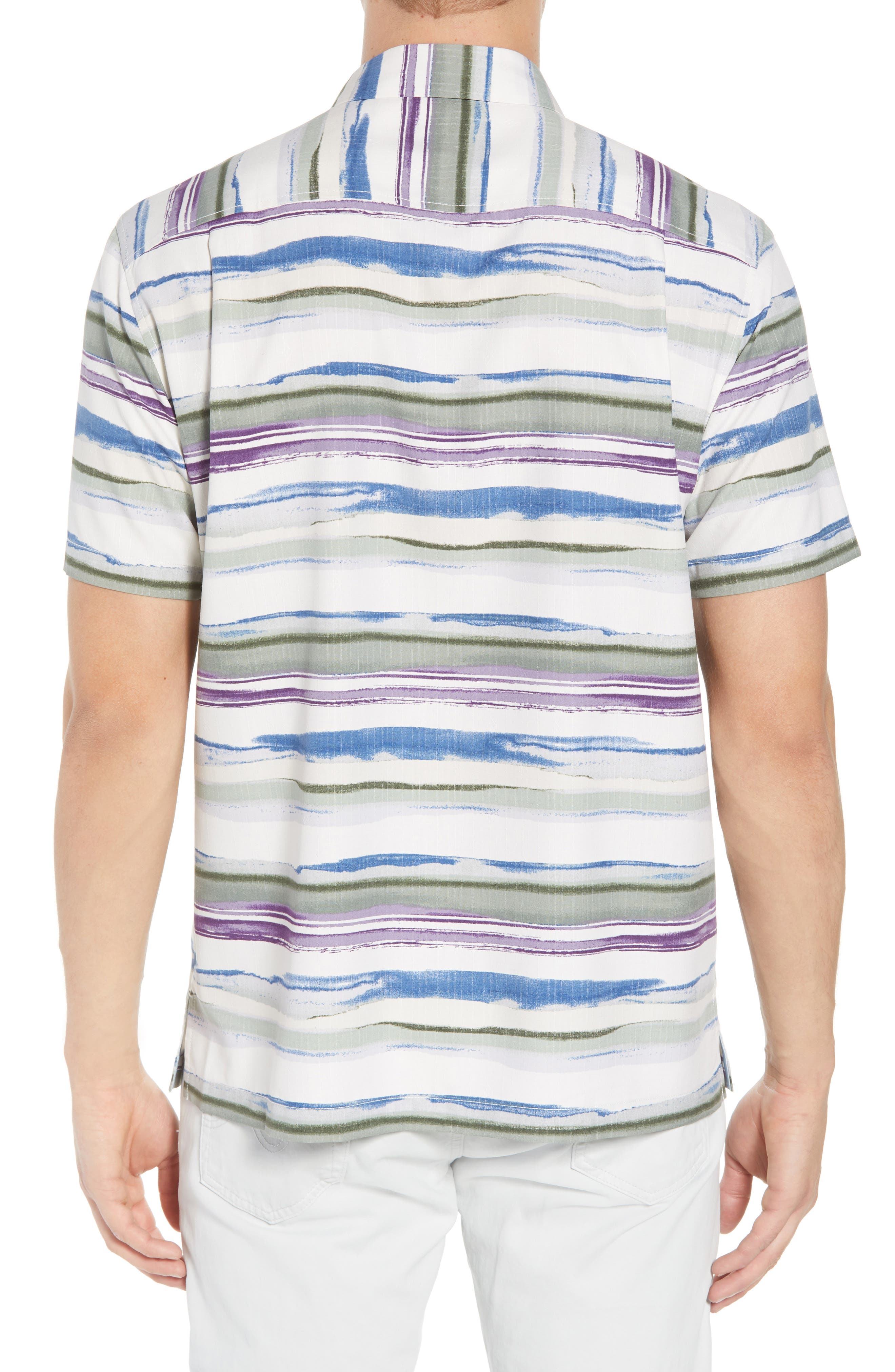 Hazy Horizons Silk Blend Camp Shirt,                             Alternate thumbnail 3, color,                             Grand Canal