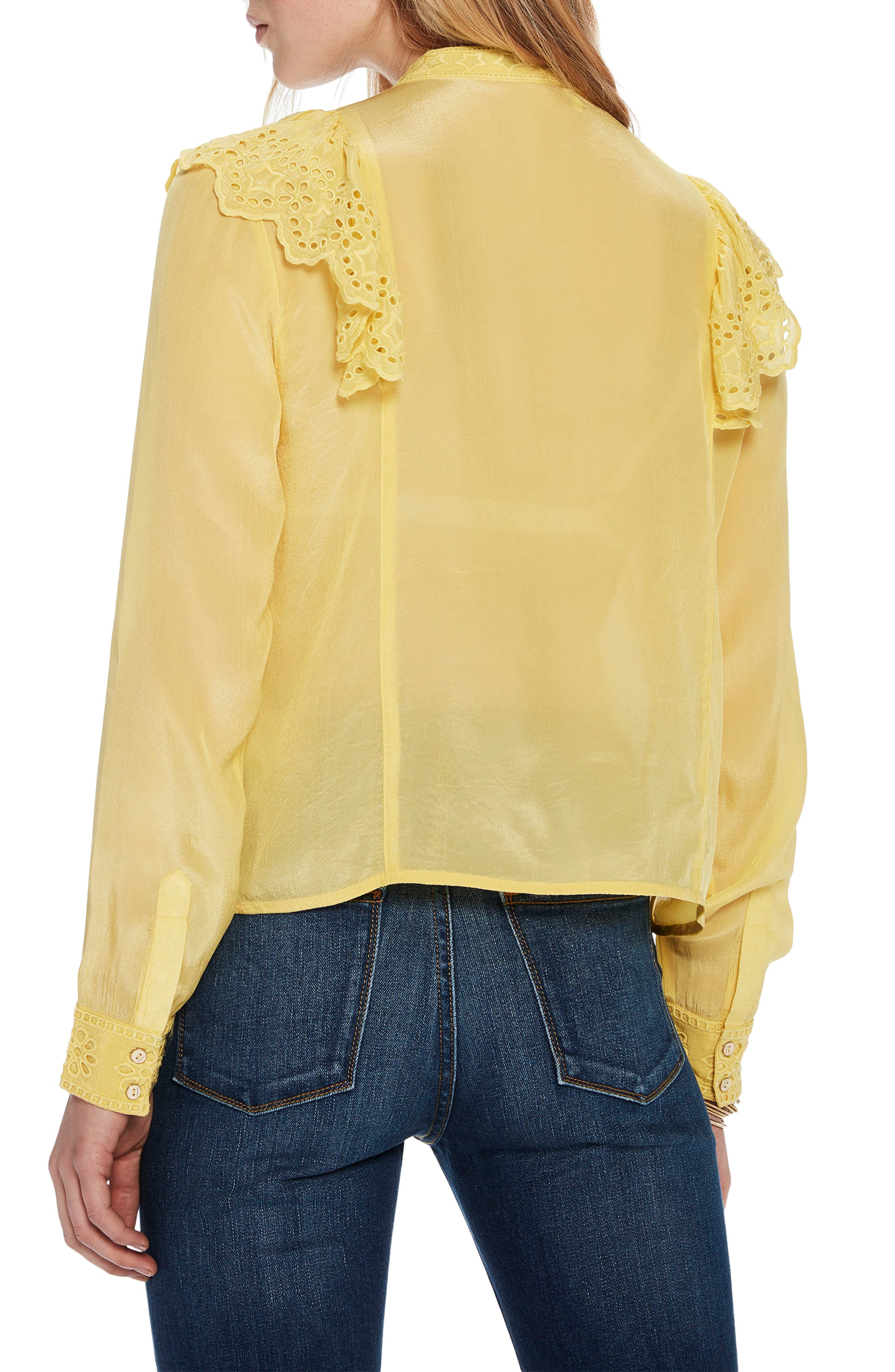 Ruffle Embroidered Eyelet Top,                             Alternate thumbnail 2, color,                             2118 Cheddar
