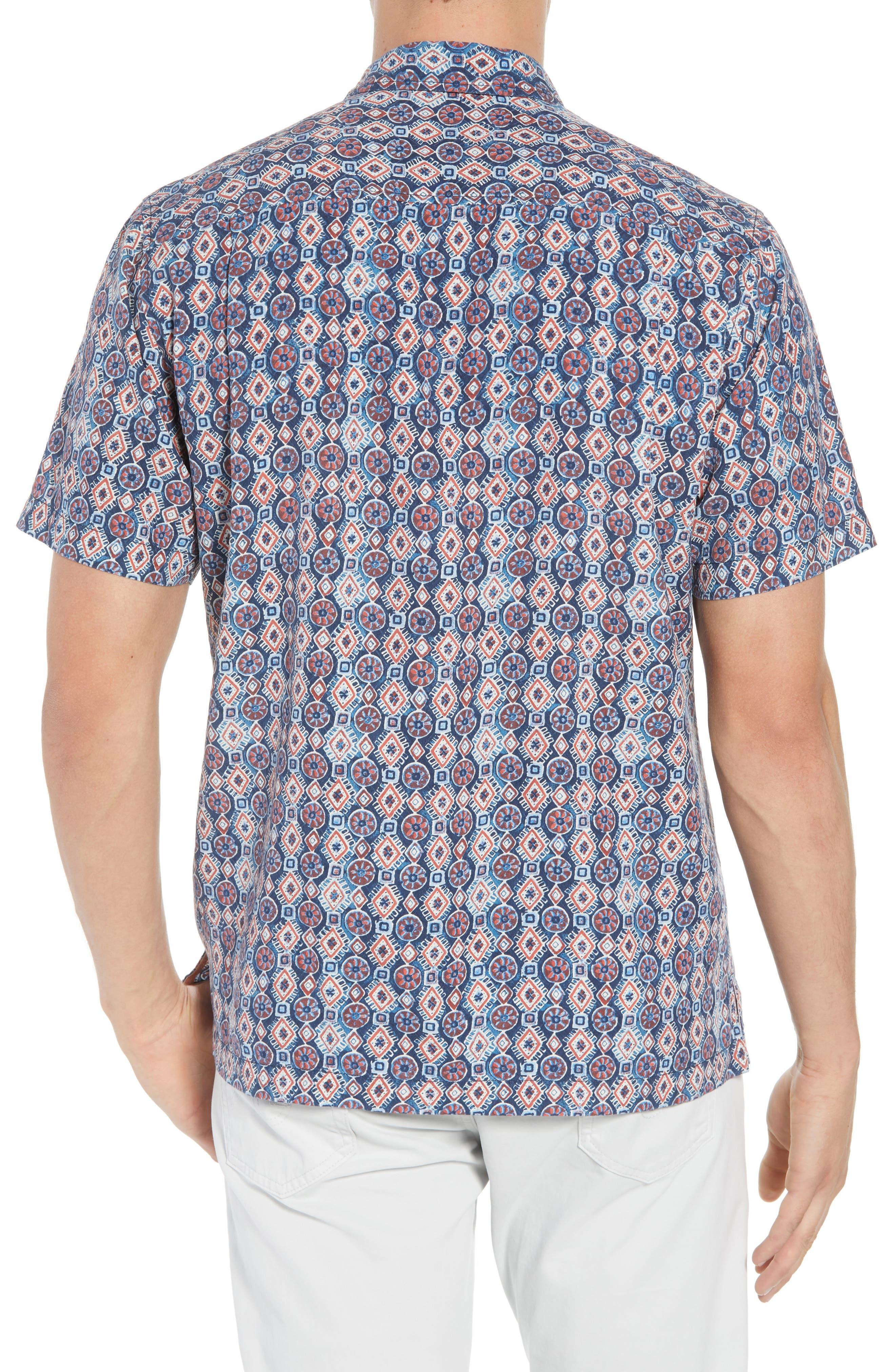 Tulum Tiles Silk Camp Shirt,                             Alternate thumbnail 3, color,                             Ocean Deep