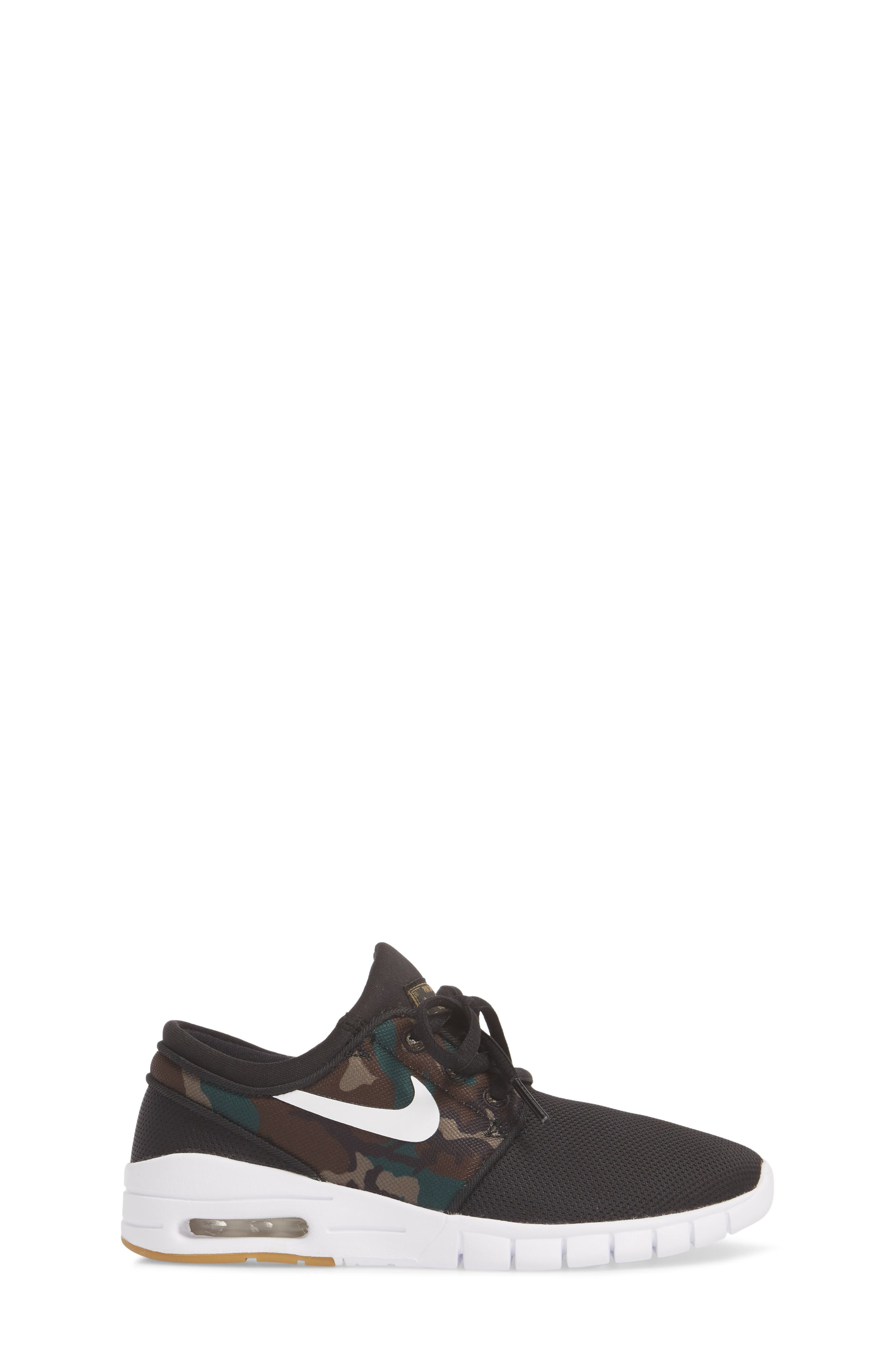 Stefan Janoski Max SB Skate Sneaker,                             Alternate thumbnail 3, color,                             Black/ White/ Olive/ Brown