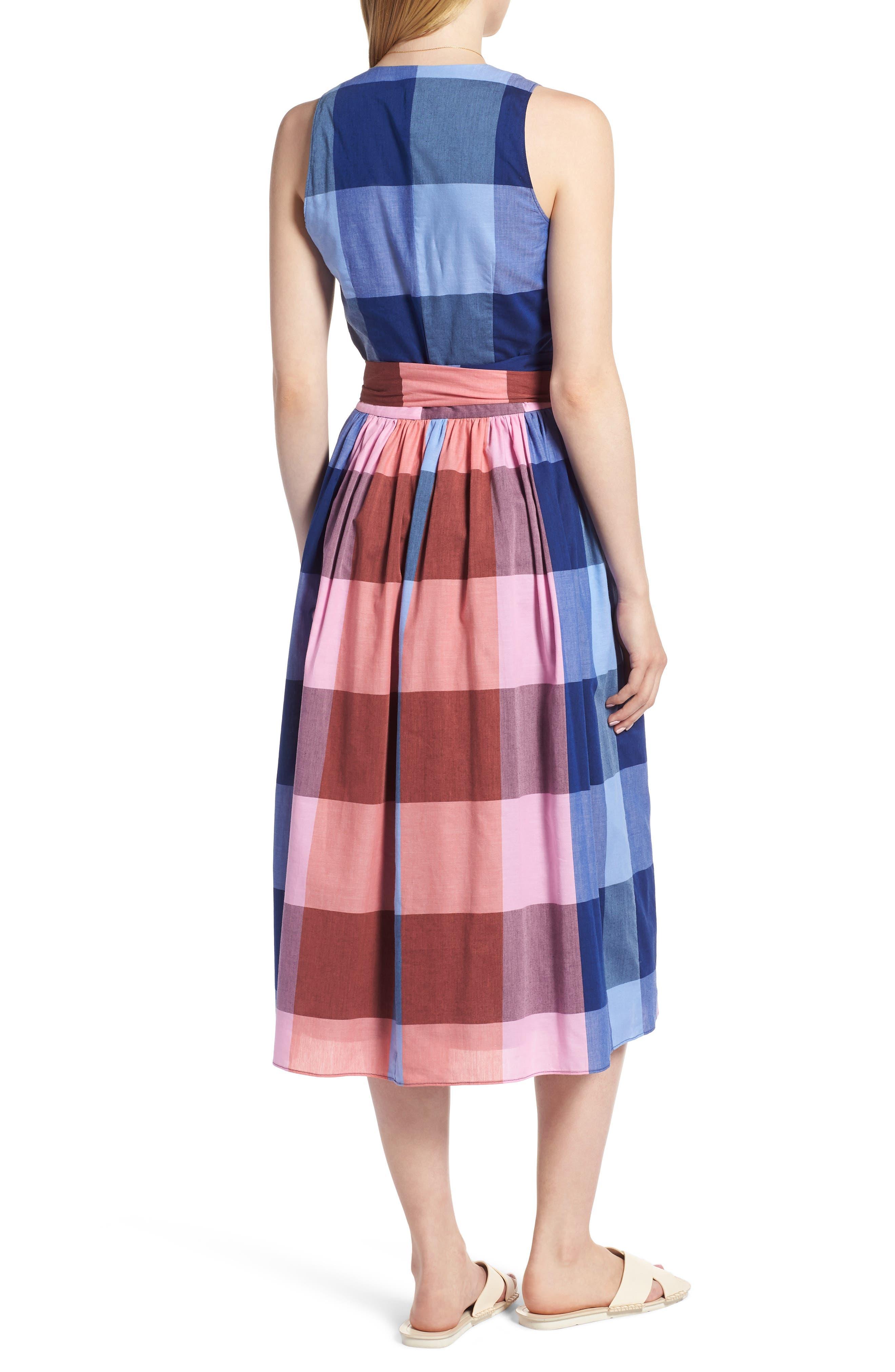 Plaid Cotton Wrap Style Dress,                             Alternate thumbnail 2, color,                             Pink- Blue Plaid