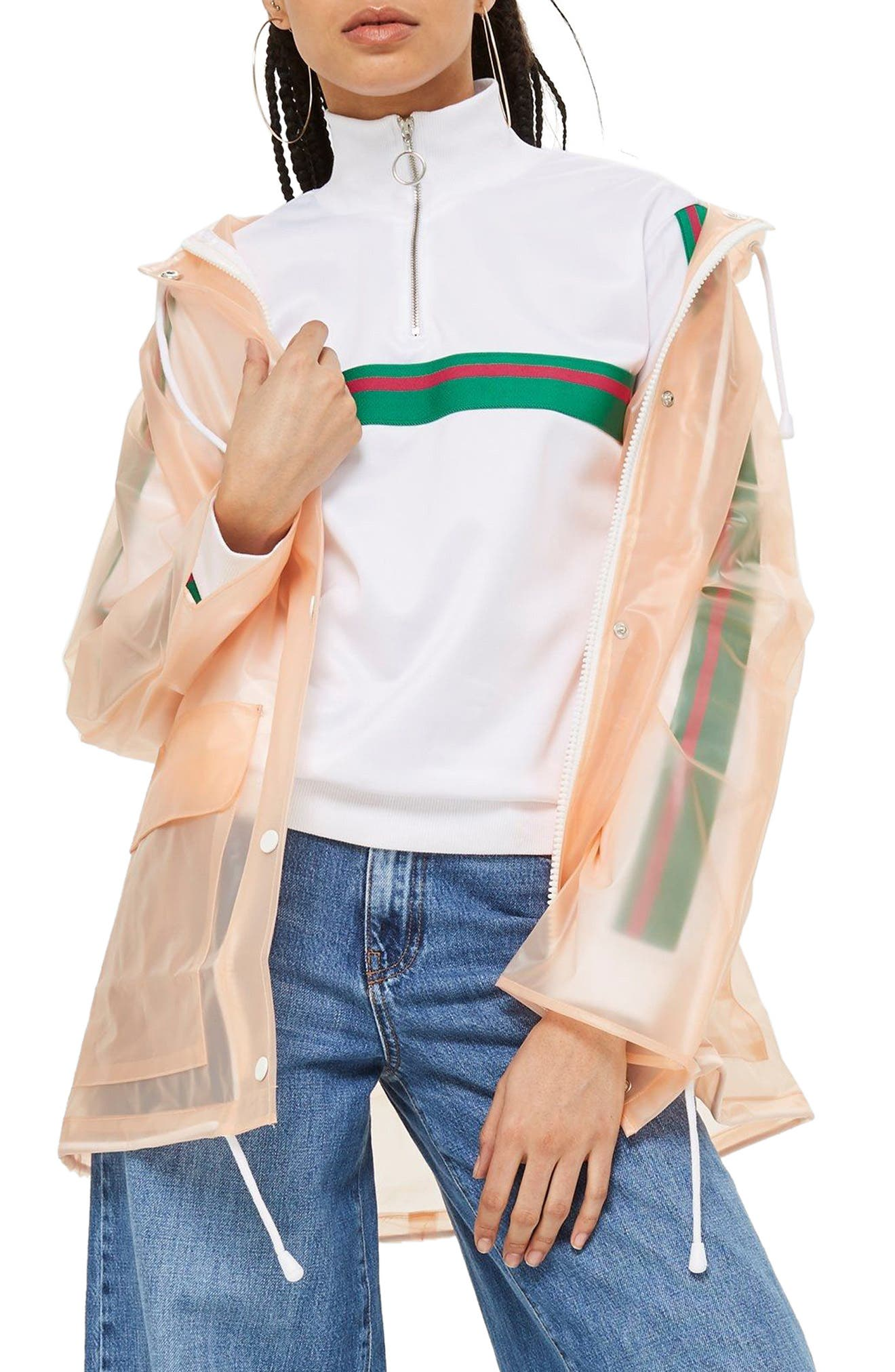 Frosted Marge Mac Rain Jacket,                             Main thumbnail 1, color,                             Peach Multi