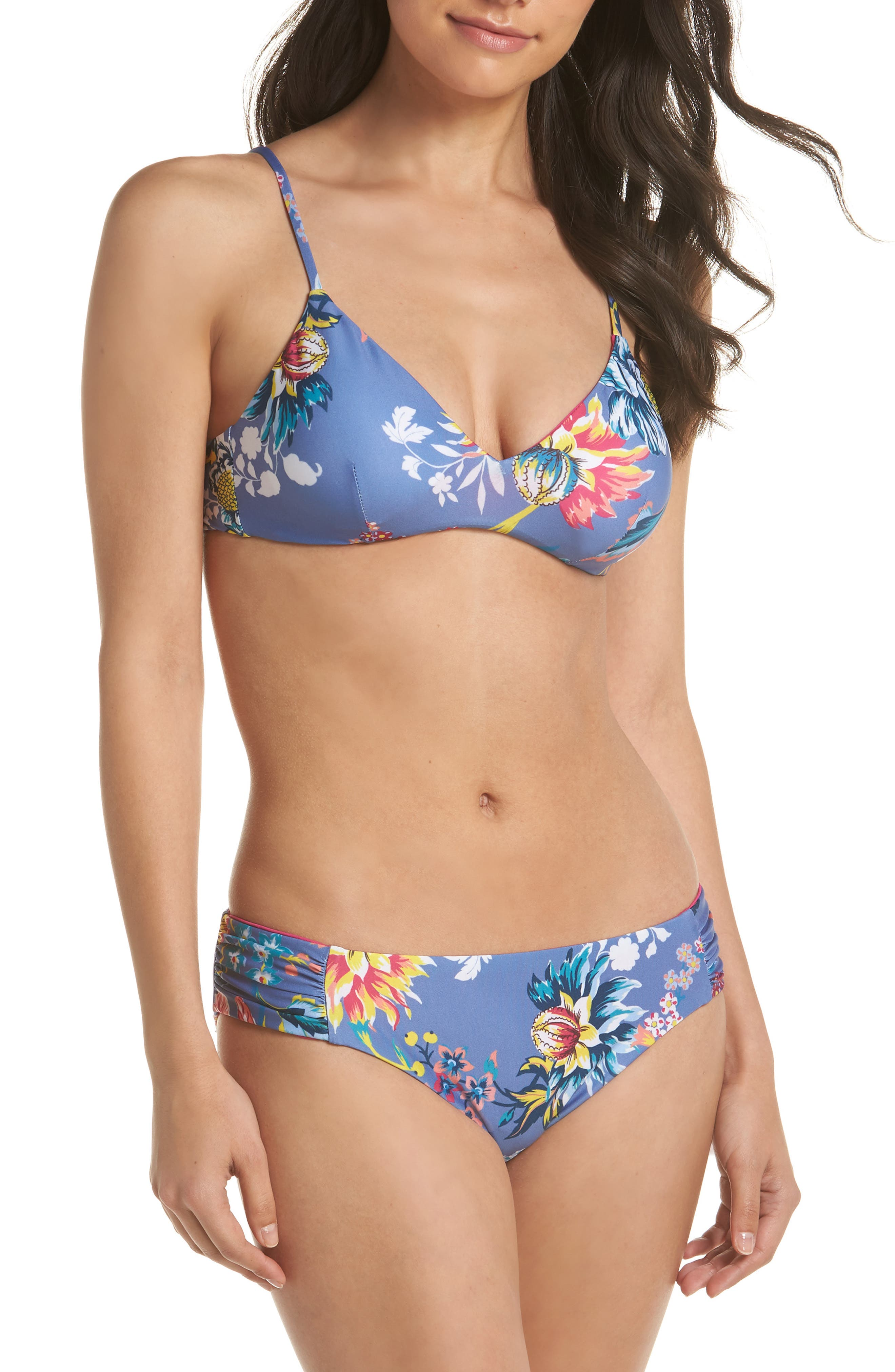 Victoria Garden Reversible Bikini Bottoms,                             Alternate thumbnail 5, color,                             Purple/ Blue Multi